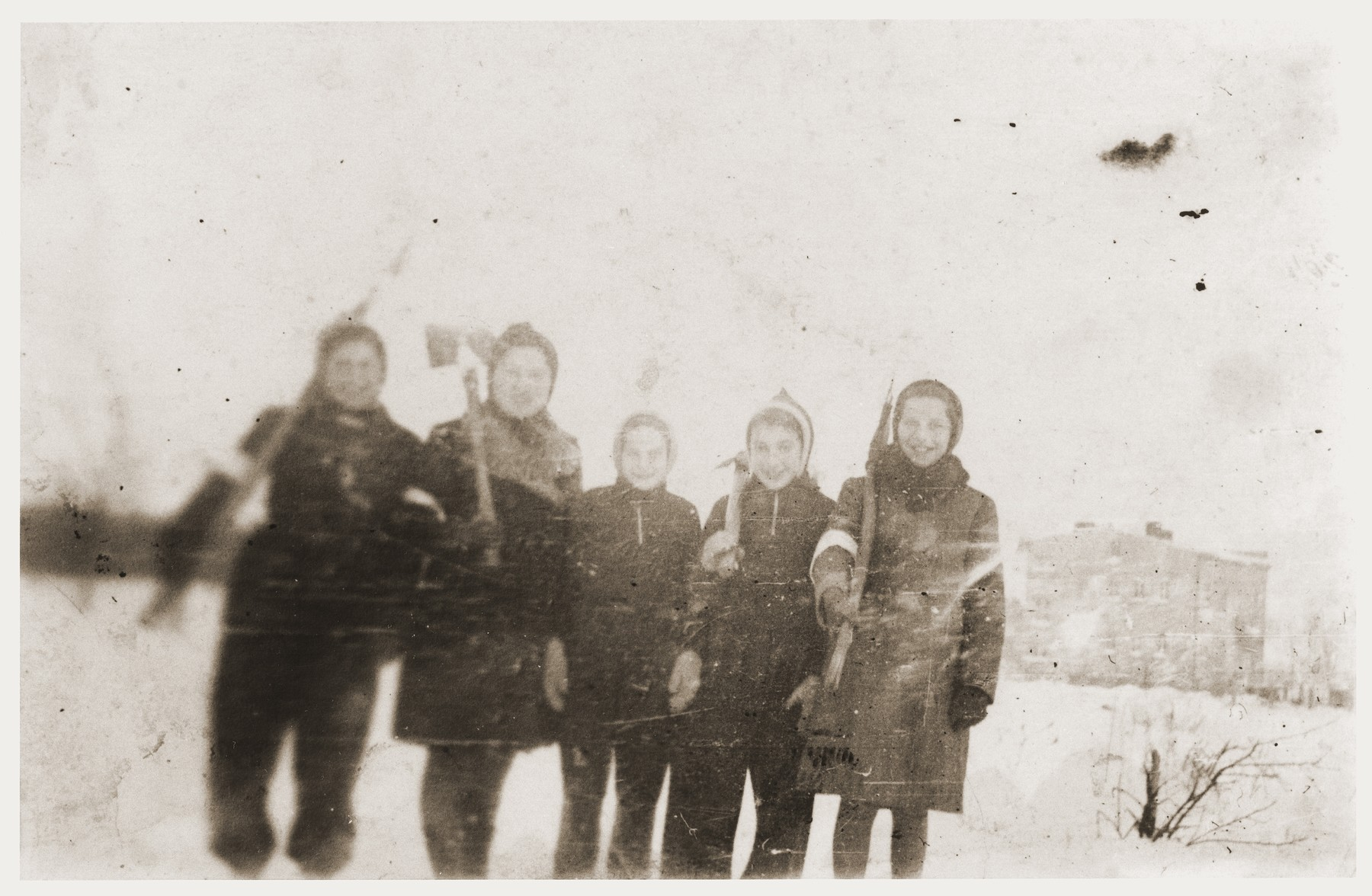 A group of Jewish girls, wearing armbands, poses with axes in a snow covered field in the Zabno ghetto.    Among those pictured are Hania Goldman (far right) and her sister, Rachela (second from the left).