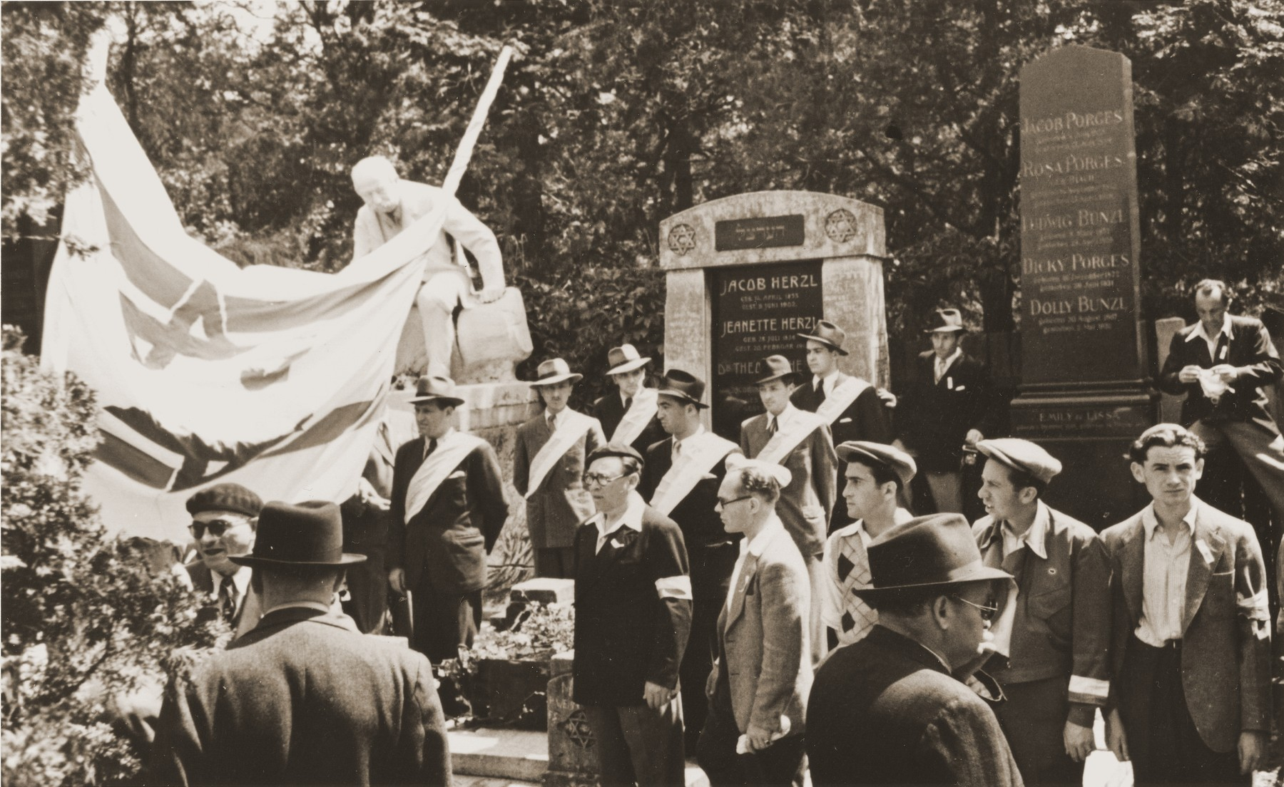 Members of the Betar Zionist youth movement demonstrate against British policy in Palestine at the tomb of Theodor Herzl in the Jewish cemetery in Vienna.    The demonstration was timed to coincide with the visit of the United Nations Special Commission on Palestine to Vienna.