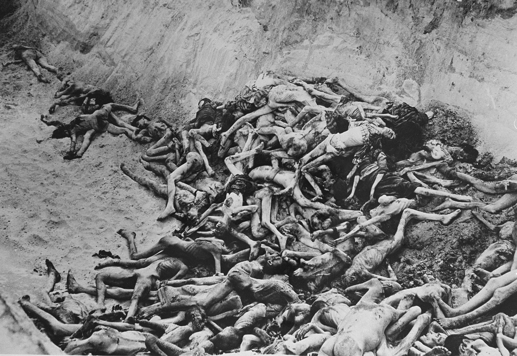 View of a mass grave in the Bergen-Belsen concentration camp.