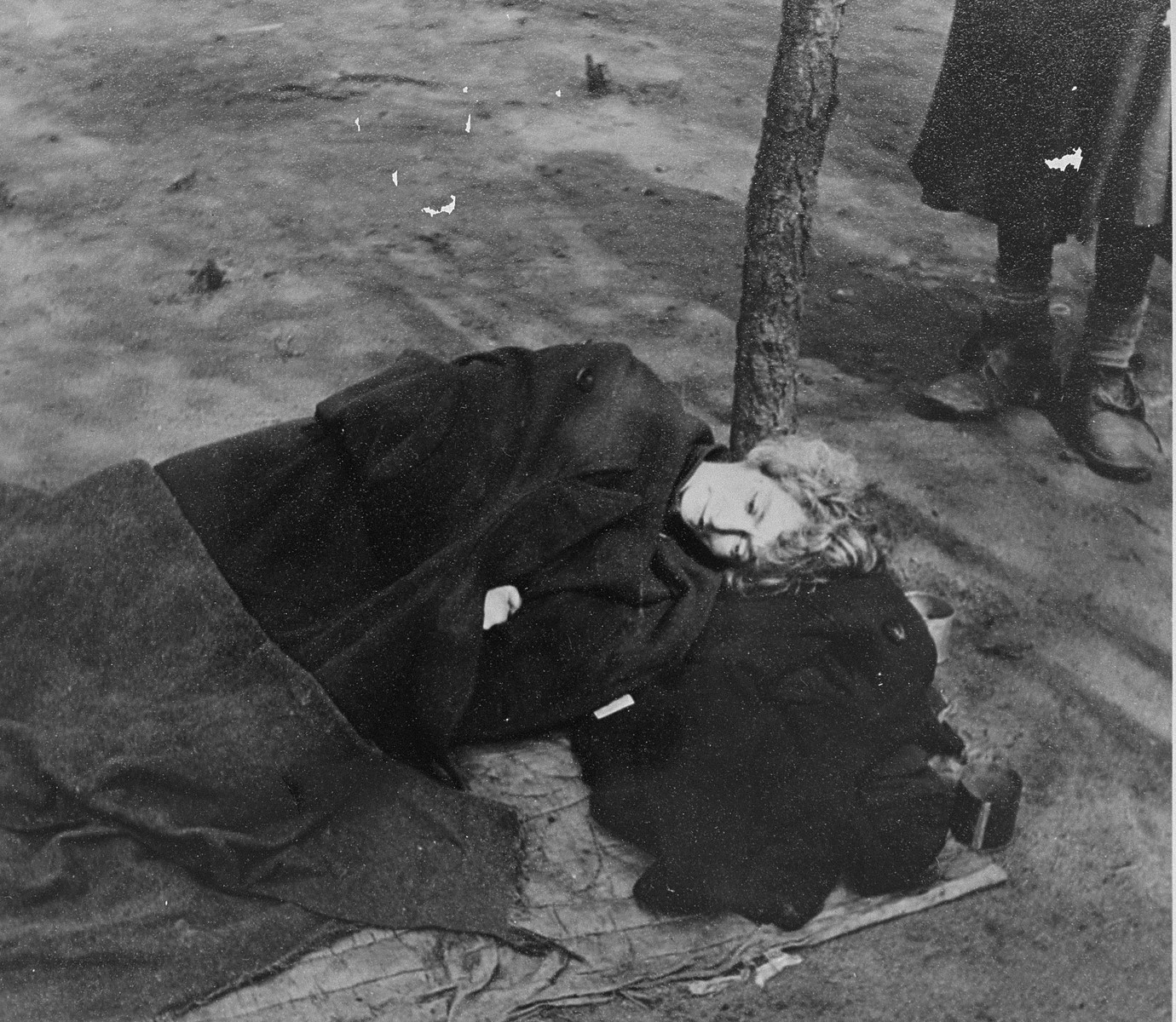 A survivor suffers from typhus following liberation in the Bergen-Belsen concentration camp.  Pictured is Eva Roden (nee Vonchovskova).