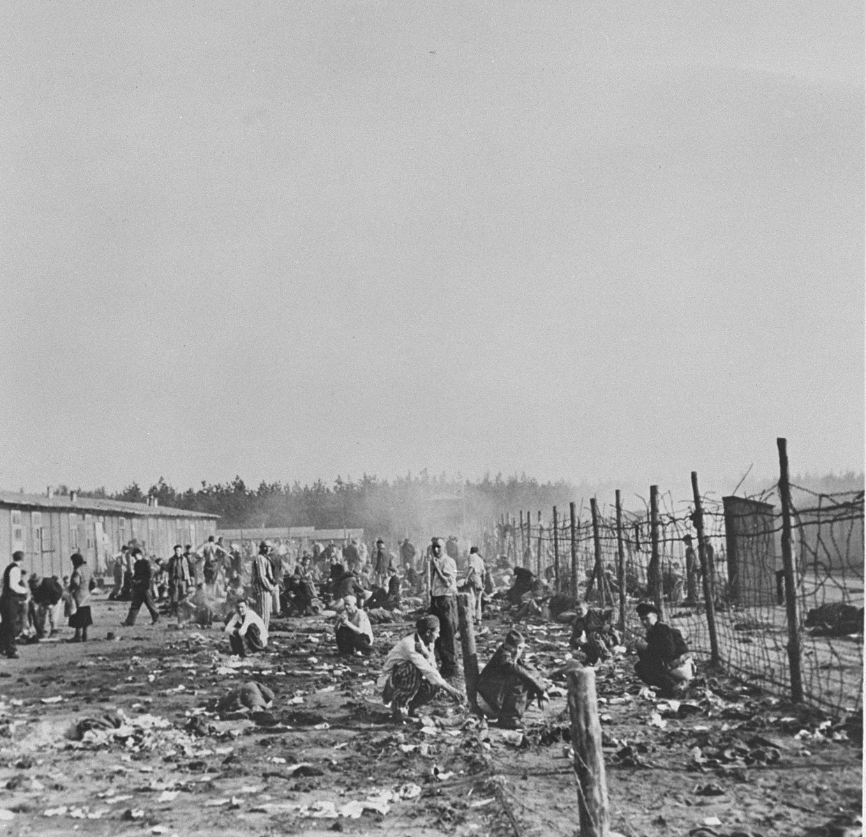Survivors gather behind a barbed wire fence in Bergen-Belsen.