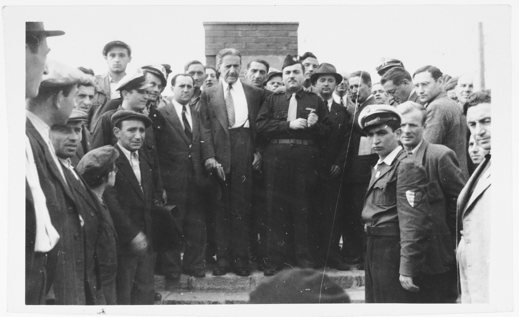 Rabbi Stephen Wise visits a Holocaust memorial at the Zeilsheim displaced persons' camp.
