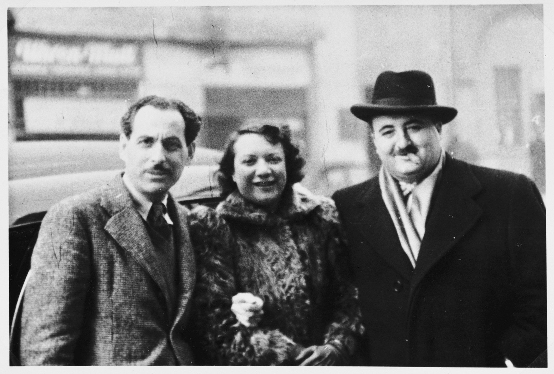 A delegation of Canadian Jews visits the displaced persons' camps to facilitate immigration to Canada.  From left to right are David Siegel, Lottie Levinson who worked with children and Bernard Berger from the Furrier's Union.