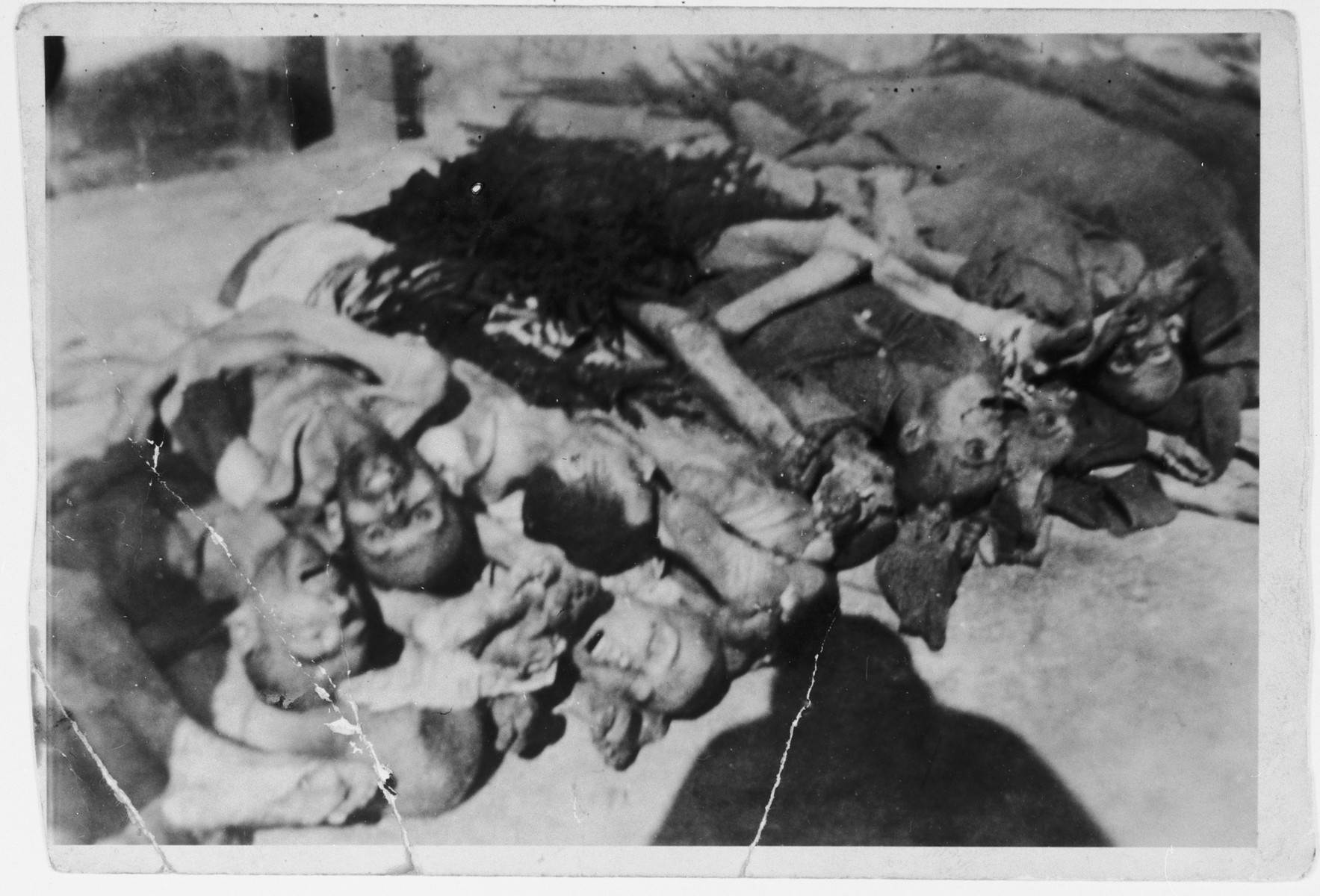 A pile of corpses awaiting burial in the Ebensee concentration camp.