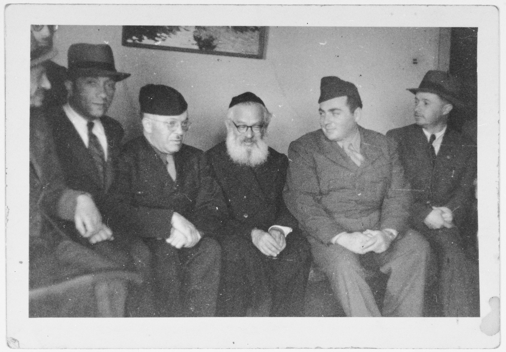 Rabbi Isaac Herzog, first Ashkenazi chief rabbi of the State of Israel, visits the Zeilsheim displaced persons' camp.