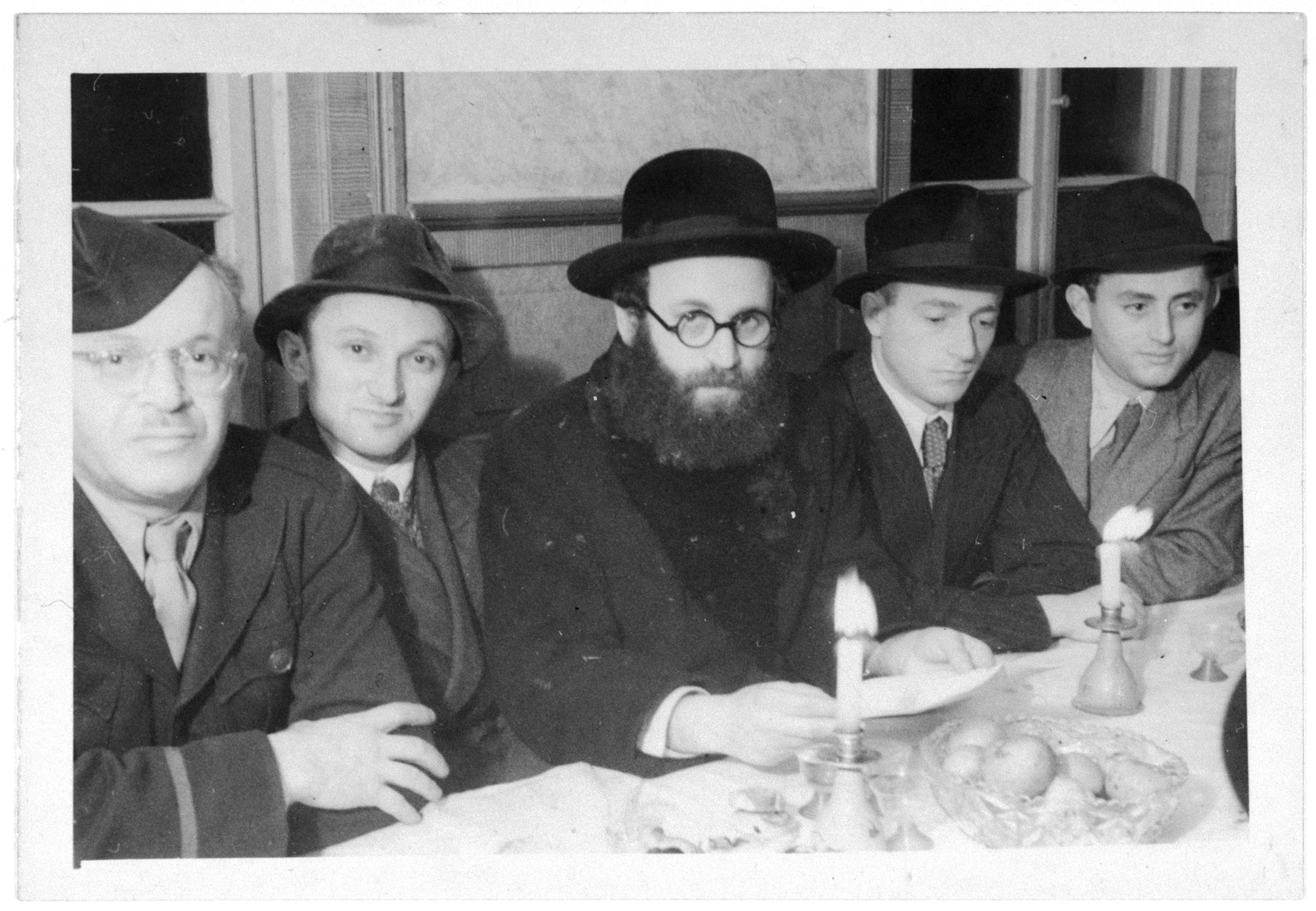Religious Jews gather for either a Shabbat or a holiday meal in the Zeilsheim displaced persons' camp.