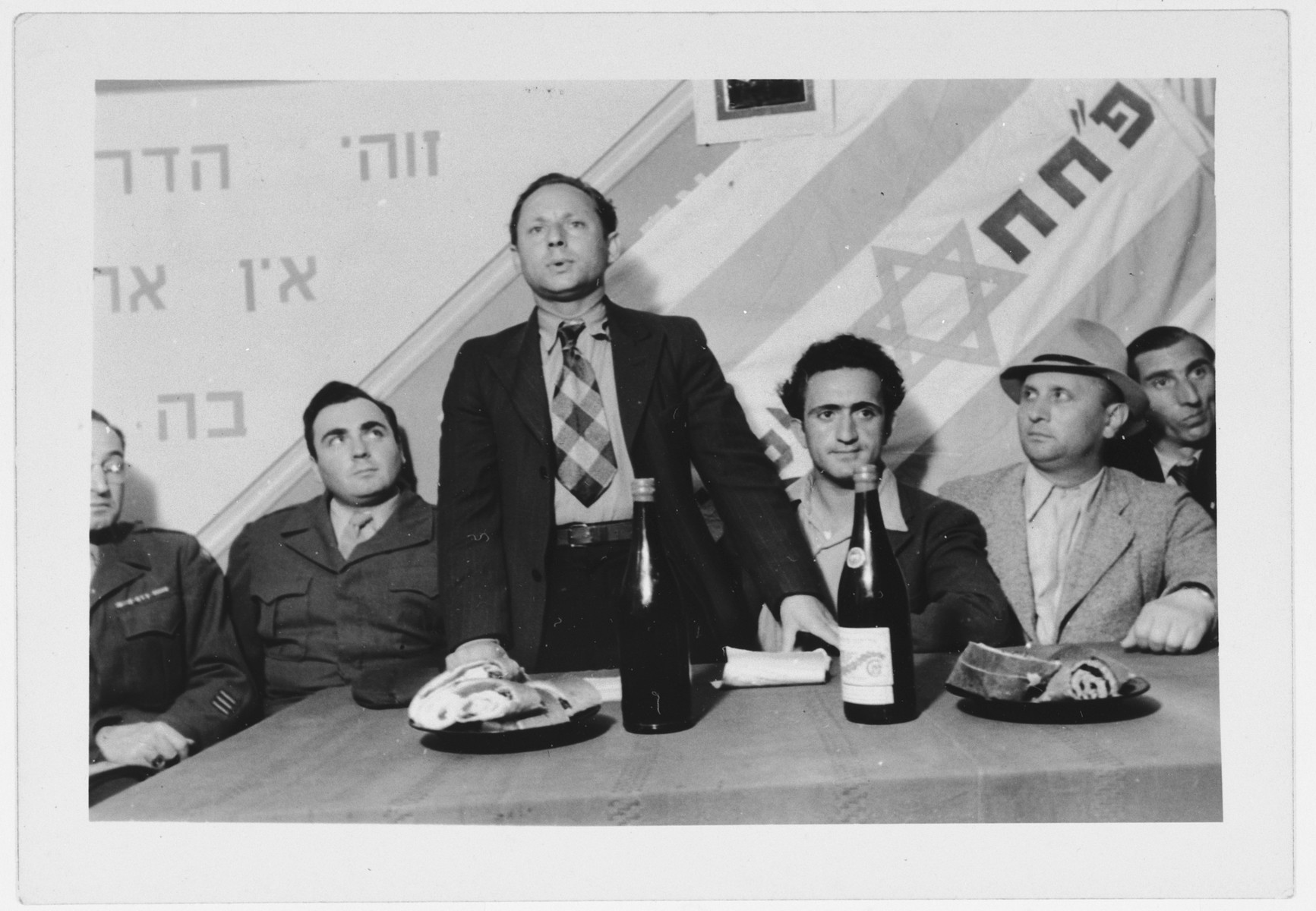 Meeting of the Zionist group, Partizanim-Hayalim-Halutzim, in the Zeilsheim displaced persons' camp.