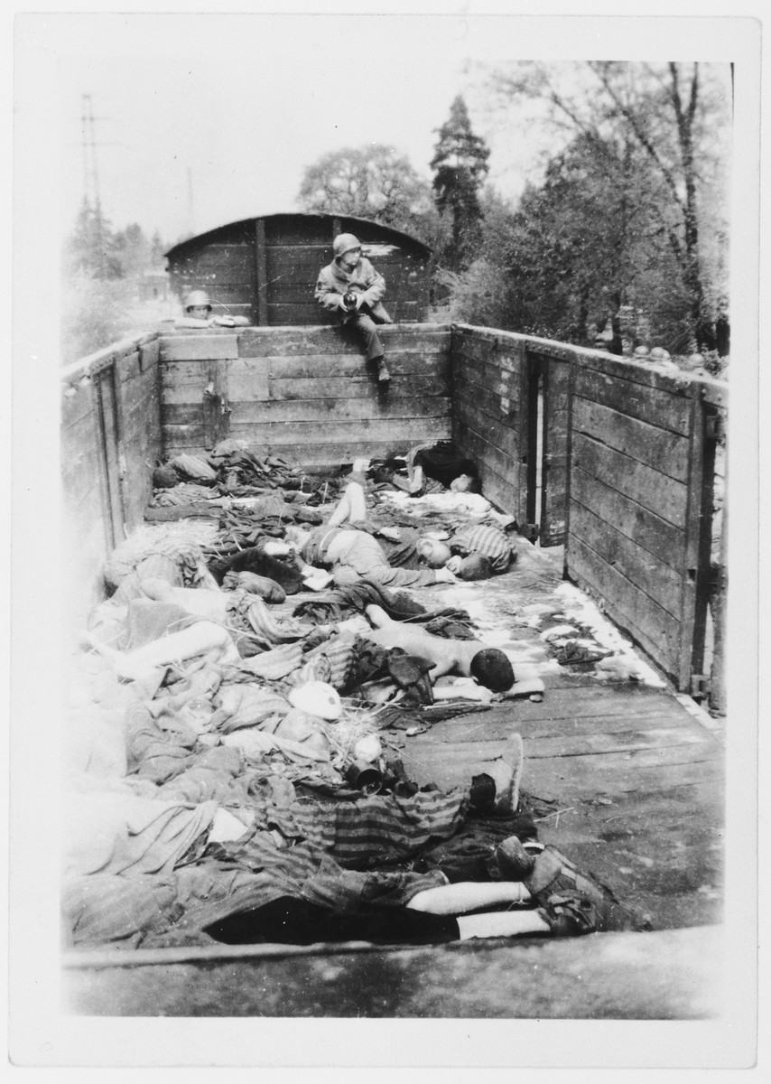 Corpses lie in an open truck prior to burial soon after the liberation of Ebensee.