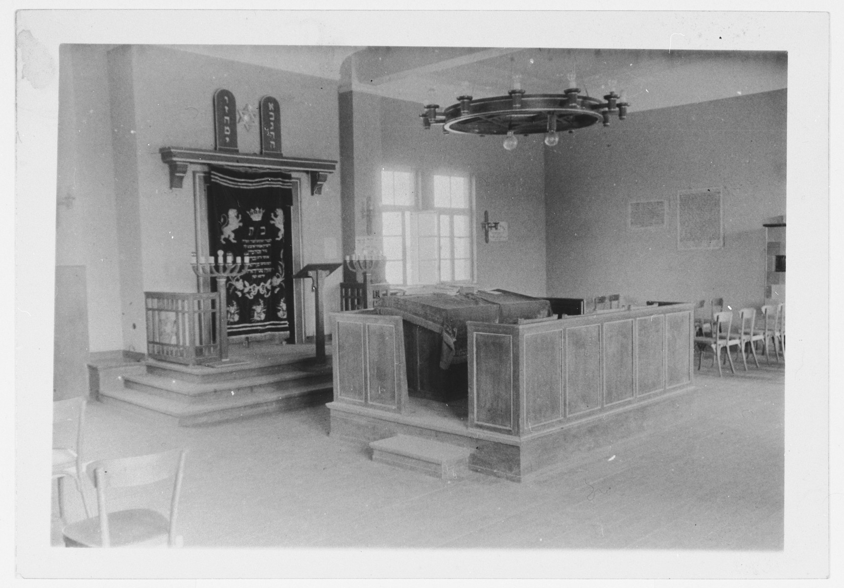 View of the interior of the synagogue in the Zeilsheim DP camp.