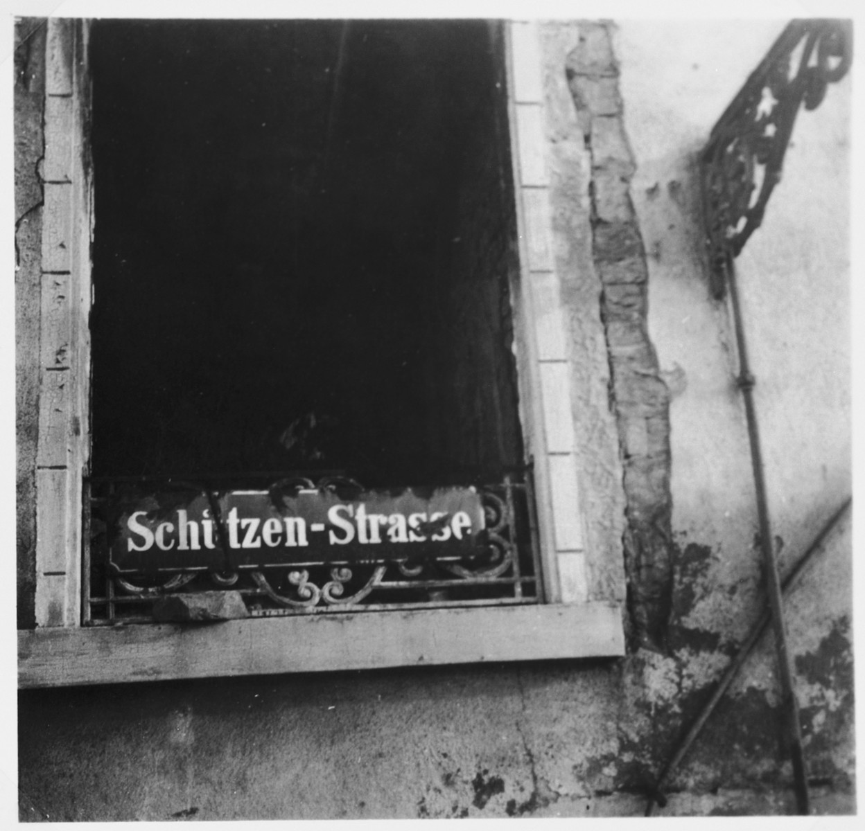 View of the destroyed synagogue in Frankfurt.