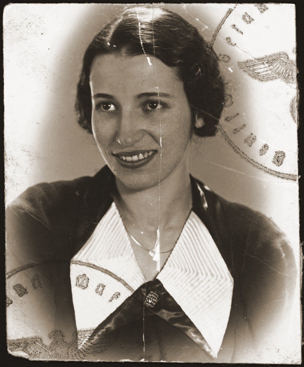 Wartime passport photograph of a young Jewish woman from Bielsko Biala, Poland.  Pictured is Herta Frohlich.