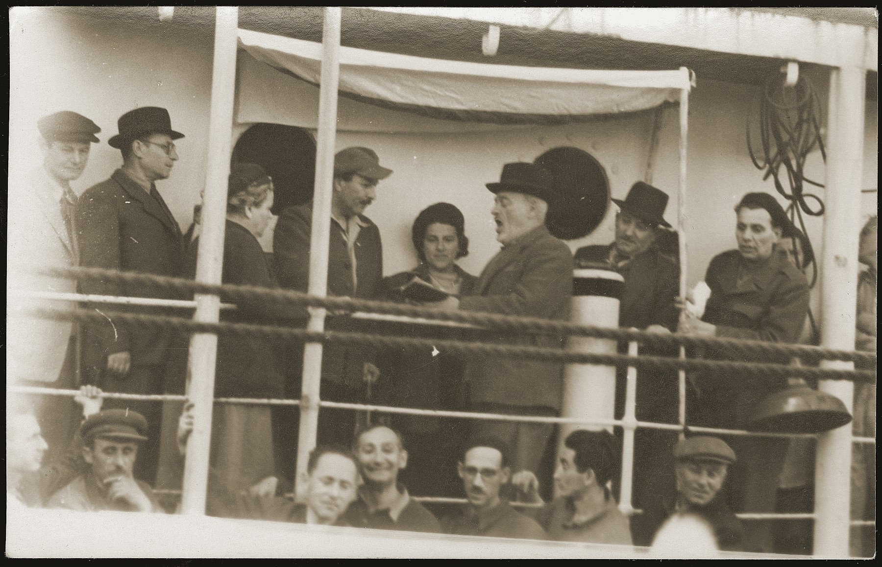 The marriage ceremony of a Yugoslavian-Jewish couple on board the SS Kefalos, sailing from Bakar to Israel.