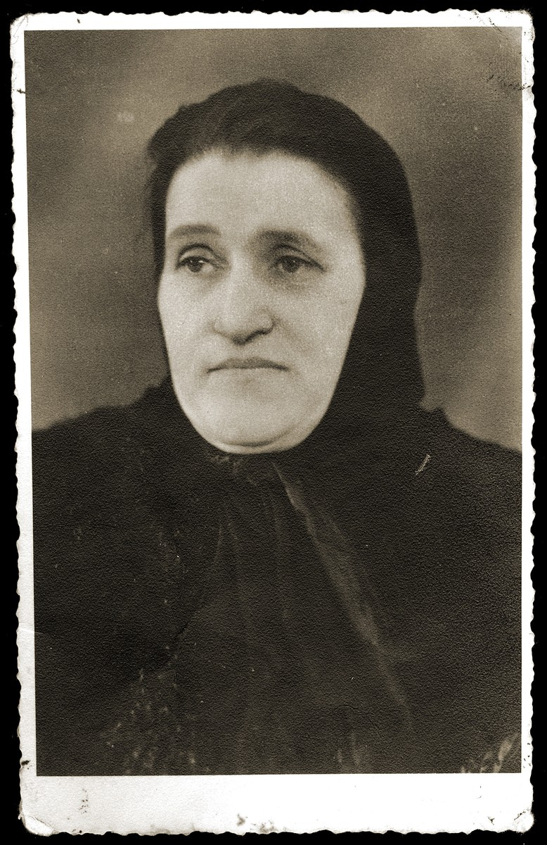 Ghetto portrait of Rywka Fogel Gruenzeiger.  She was later deported to Auschwitz where she perished.