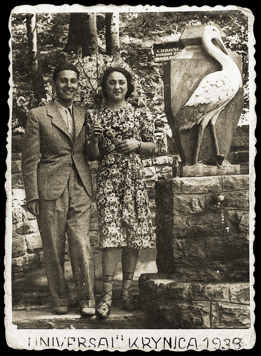 Avraham Klajman poses with a friend in the resort town of Krynica.