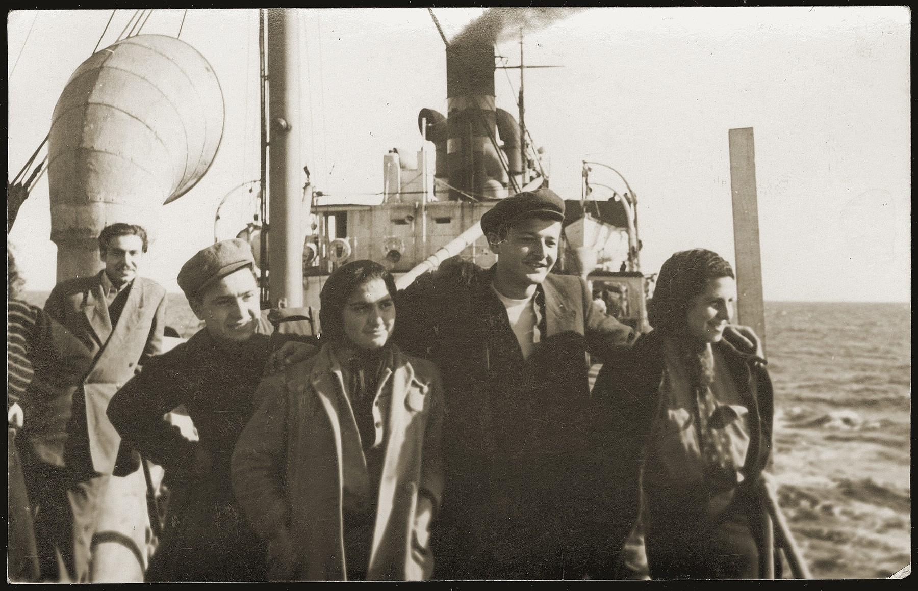 Yugoslavian Jews on the deck of the SS Kefalos, sailing from Bakar to Israel.