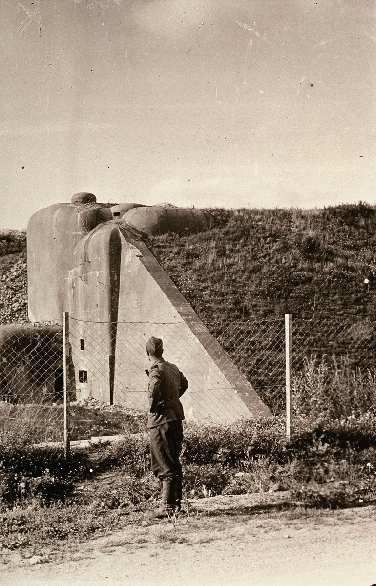 A German soldier examines fortifications on the Maginot Line, after the defeat of France by the German army.