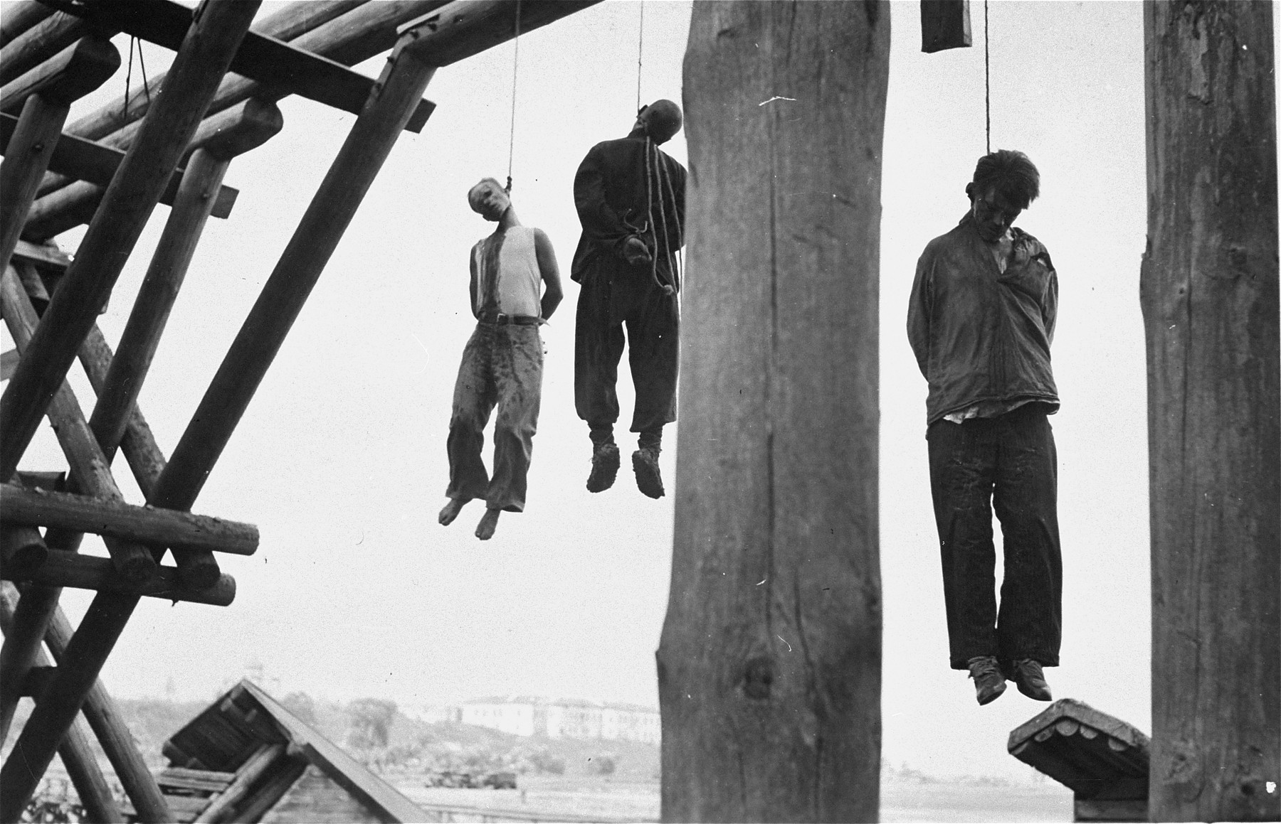 The bodies of three partisans hang from a bridge in the occupied Soviet Union.