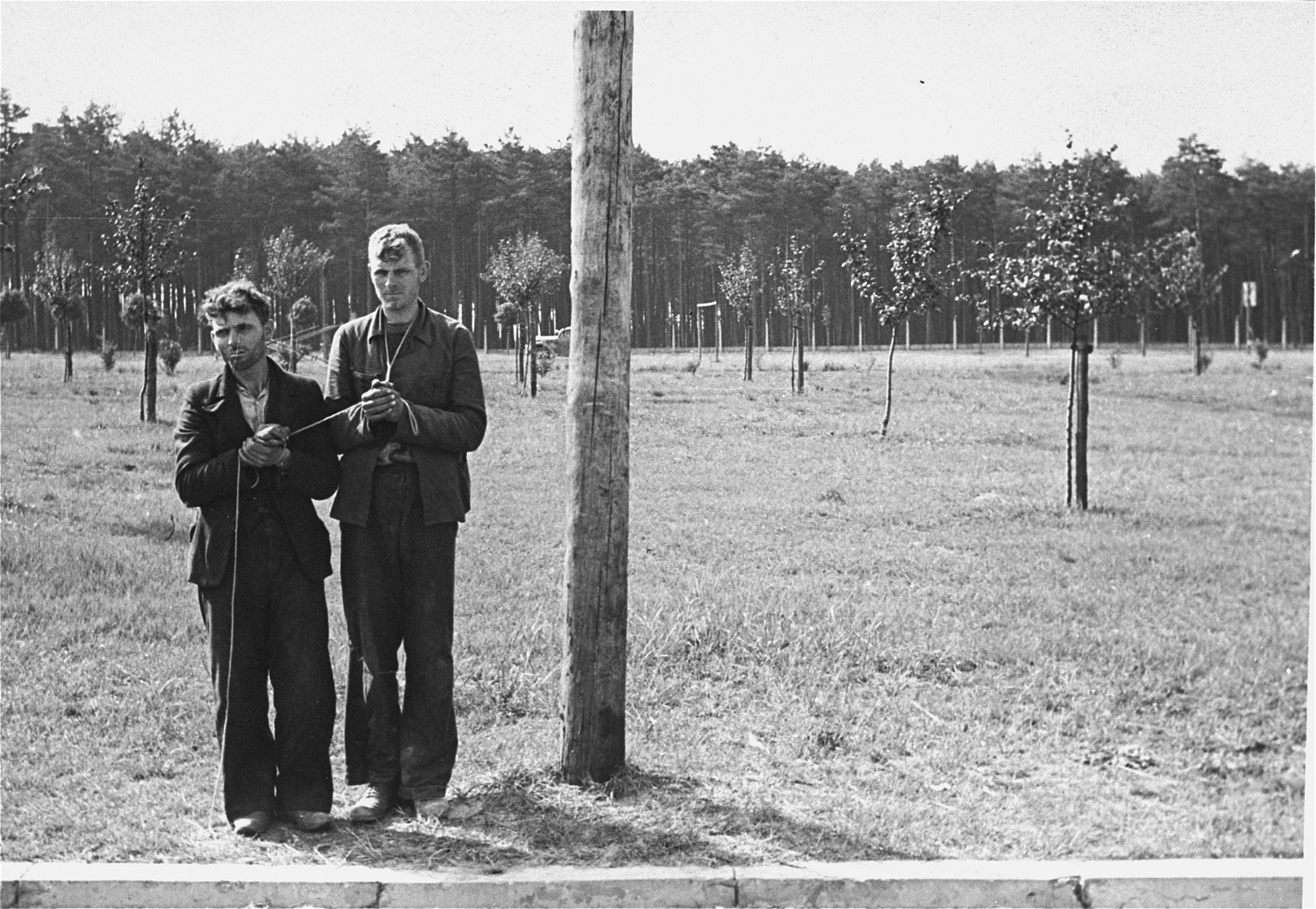 [Probably, two young Polish men stand in a field with their hands bound together prior to their execution.]   One of twenty-six images of Einsatzgruppen activities in Poland in 1939, found by Joseph Igra after the war, in a an album in an apartment in Sosnowiec.