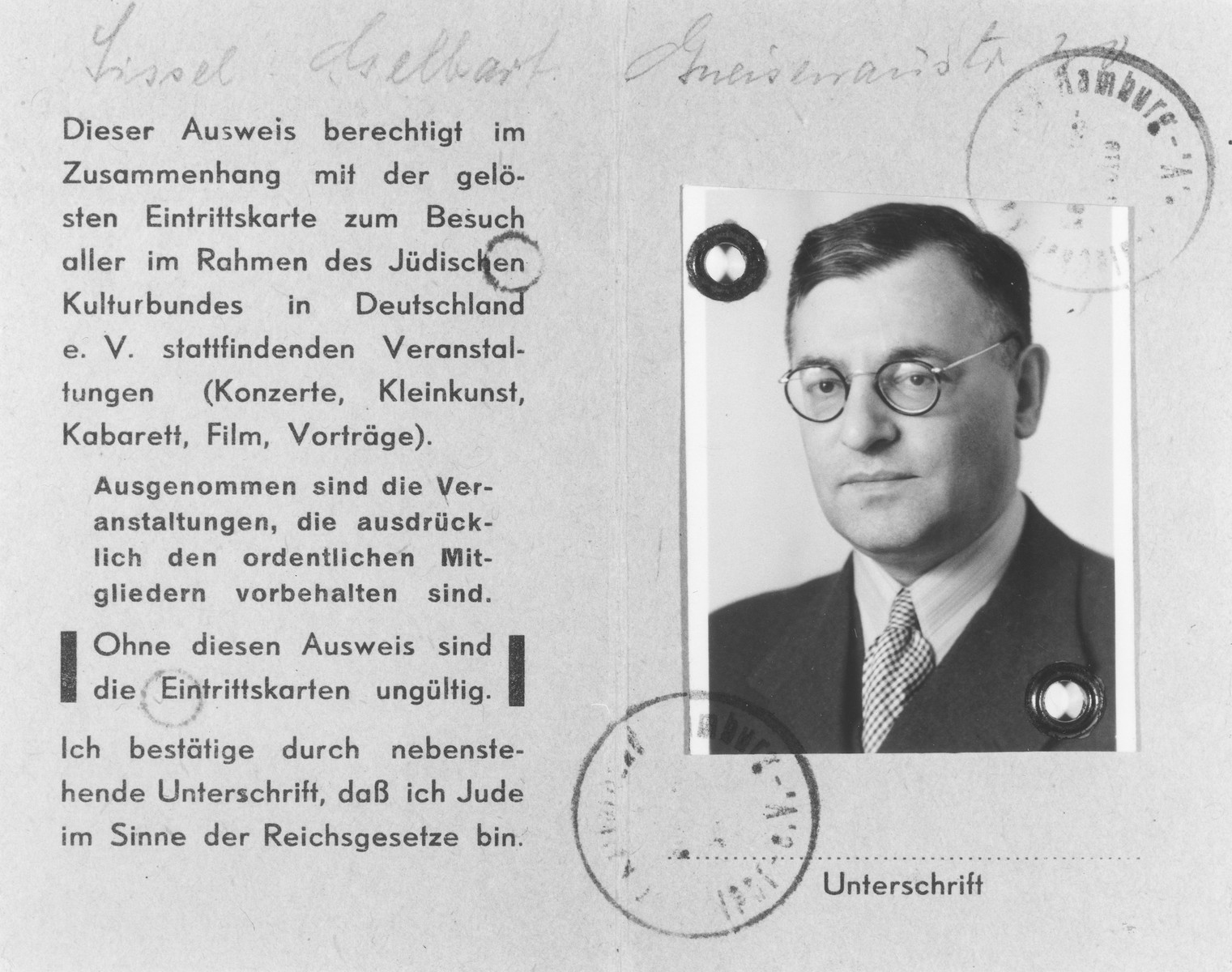 Membership card in the Juedischer Kulturbund issued to Cecil Gelbart, providing admission to Kulturbund concerts, plays and films.
