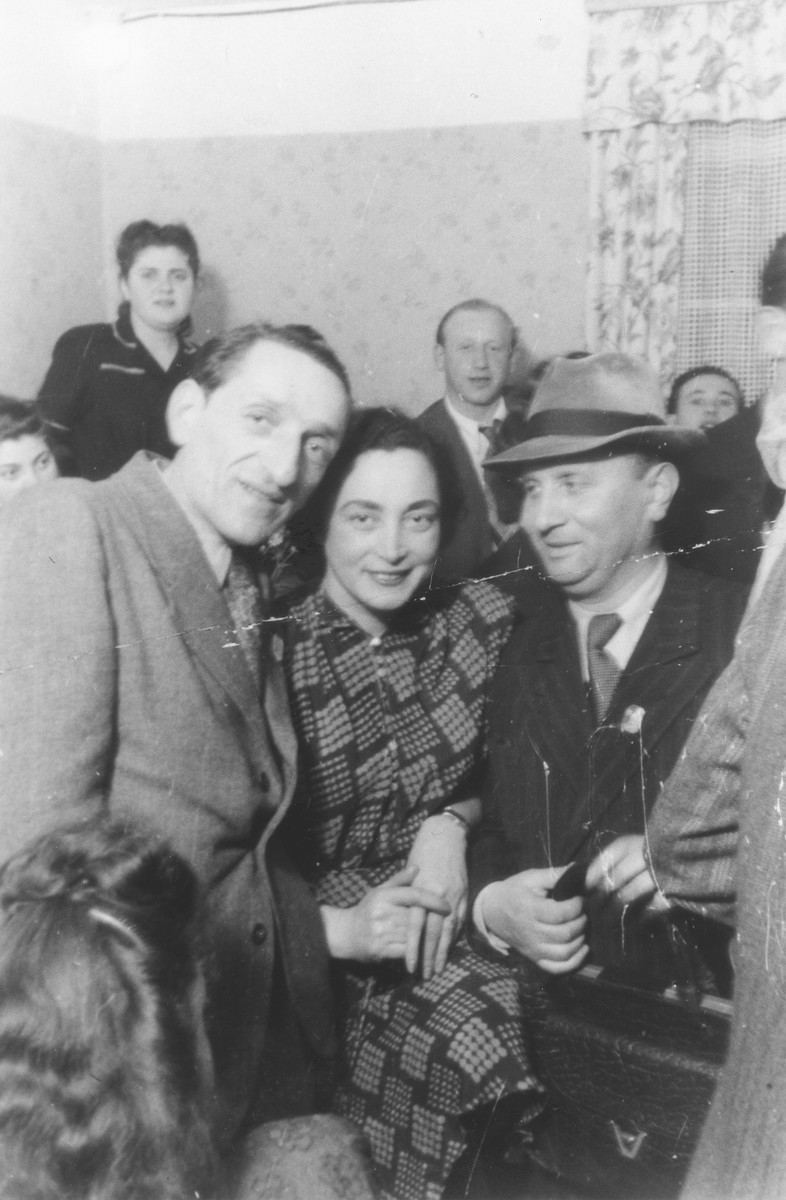 Survivors from Kazimierza Wielka at a social gathering [probably in the Foehrenwald displaced persons camp].