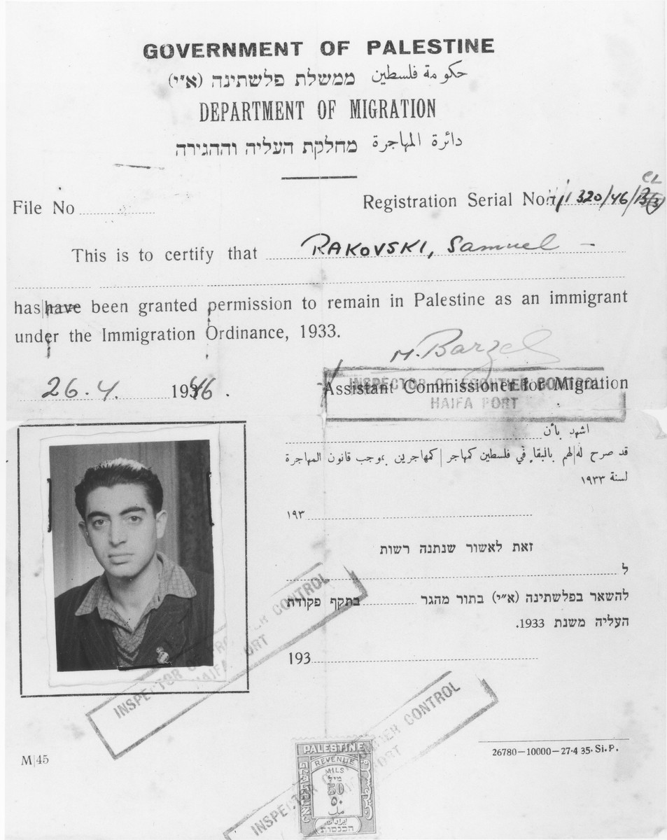 Certificate of immigration issued by the Government of Palestine to Shmuel Rakowski on April 26, 1946.