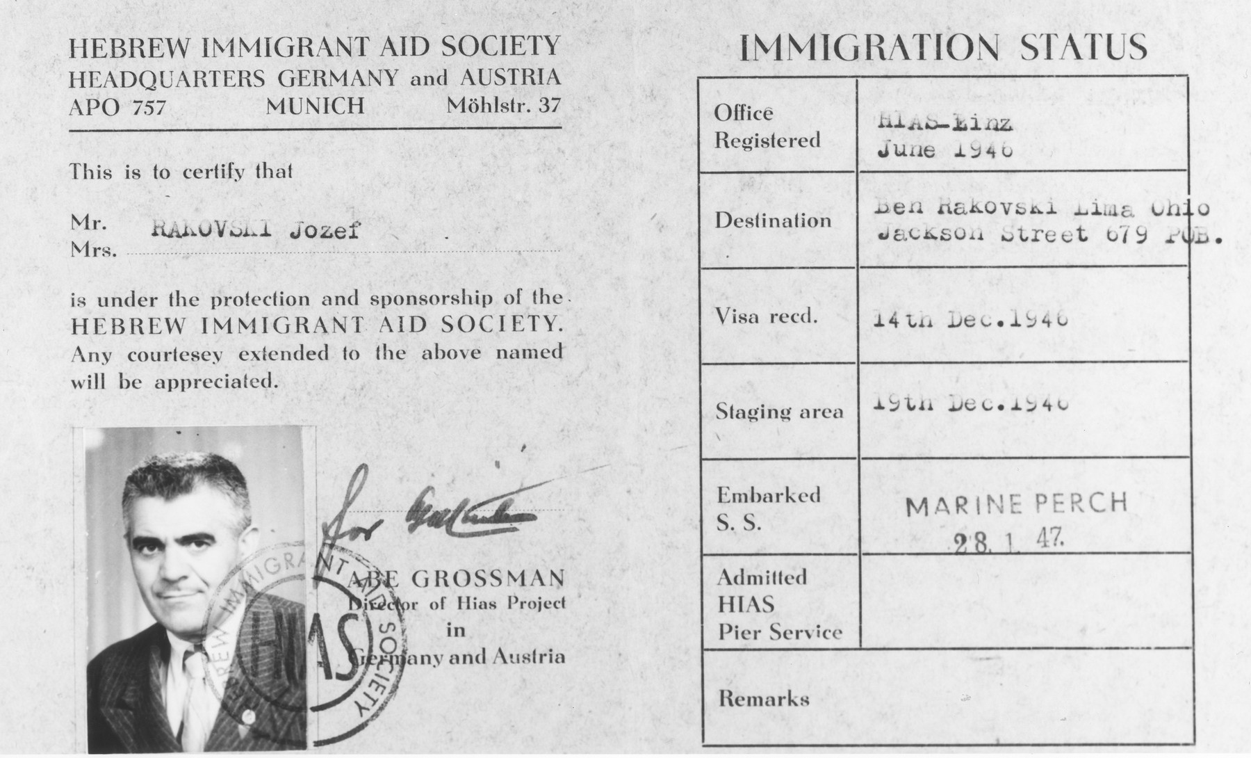 Document certifying that Jozef Rakovski [Rakowski] is under the sponsorship of the Hebrew Immigrant Aid Society (HIAS) during his voyage to the United States.