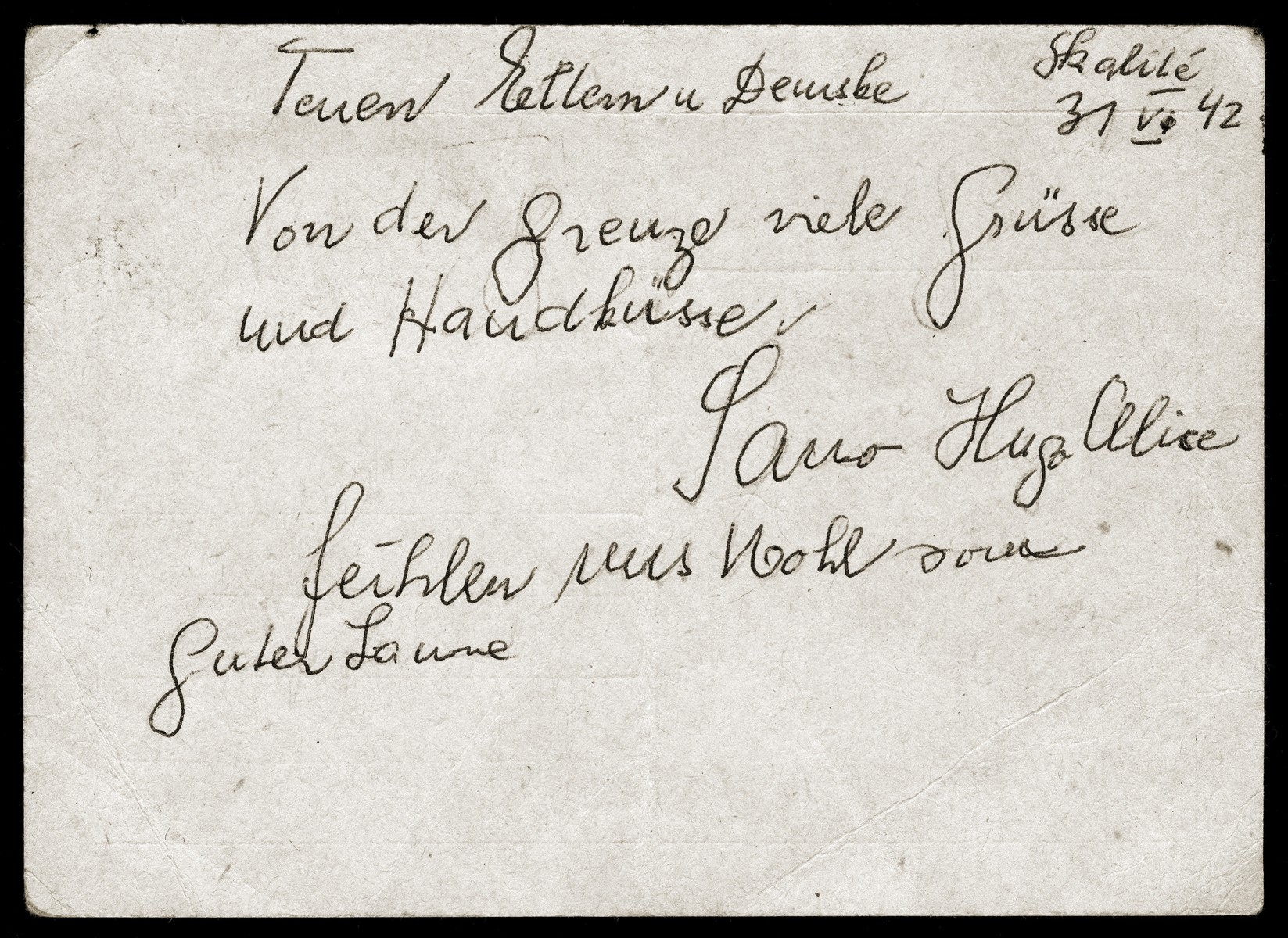 A postcard from Alexander, Hugo and Alice Elbert, written during their deportation to Poland, to their parents and daughter, whom they had left behind in Slovakia.