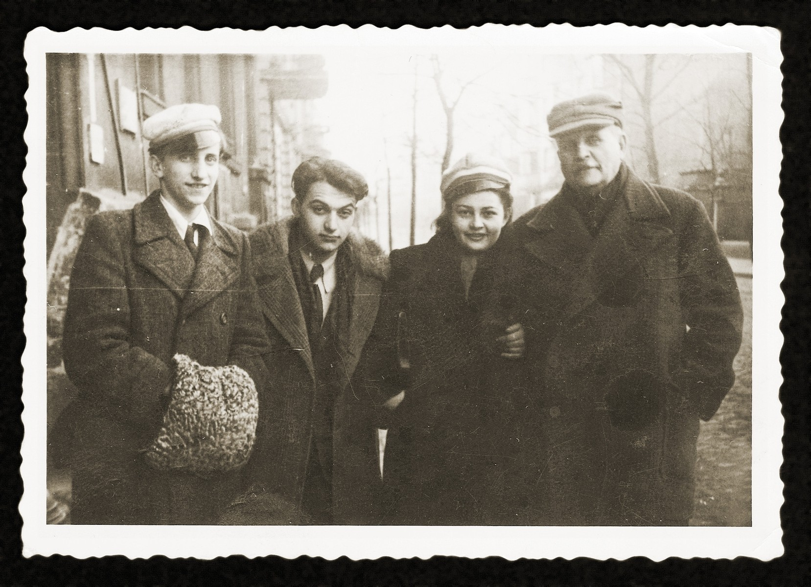 Gina Tabaczynska poses with two friends and the Pole who protected her while she was living in hiding in Warsaw.    PIctured from left to right are: Adam Los, Misza (Janis) Janiszewski, Gina Tabaczynska and Aleksander Pawlowski.