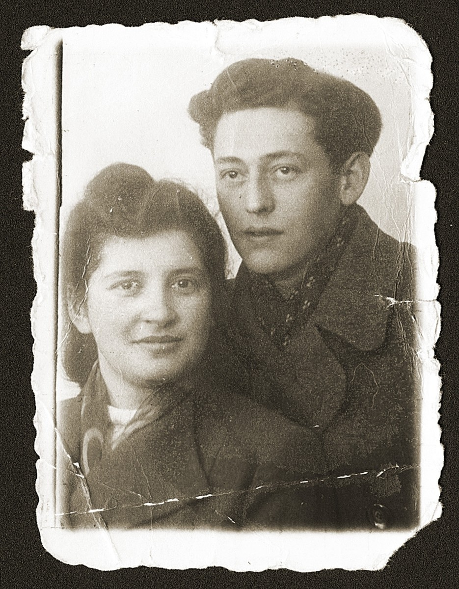 Portrait of a Jewish DP couple, Fela Fiszel and Natan Gipsman, shortly before their marriage.