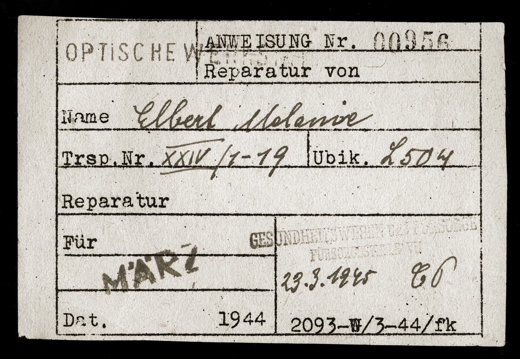 A repair order issued by the optical workshop of the Theresienstadt ghetto health office to inmate Melania Elbert.