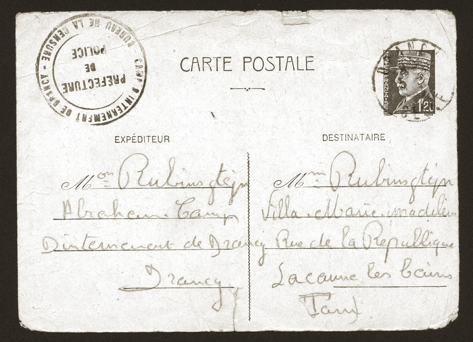 Postcard sent to the Rubinsztejn family by Armand Rubinsztejn during his internment at Drancy.