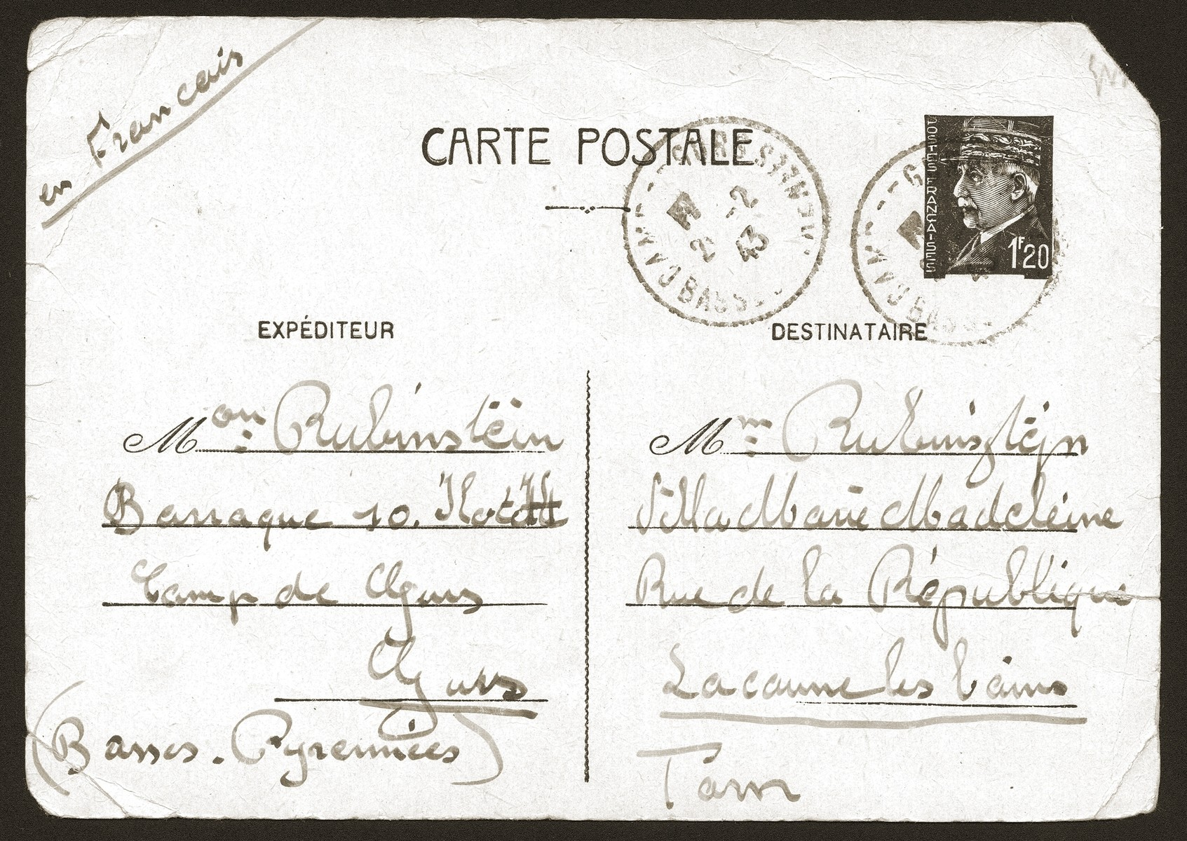 Postcard sent to the Rubinsztejn family by Armand Rubinsztejn during his internment at Gurs.