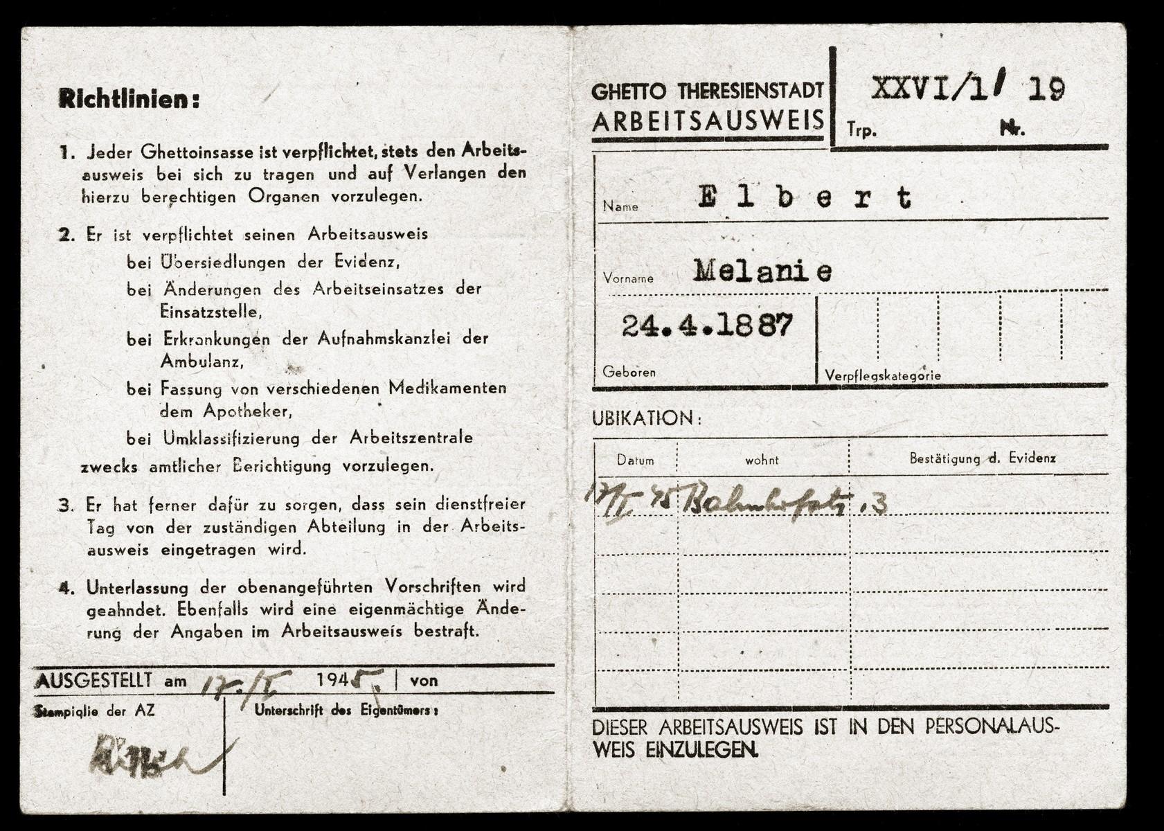 Identification card belonging to Theresienstadt inmate Melania Elbert.