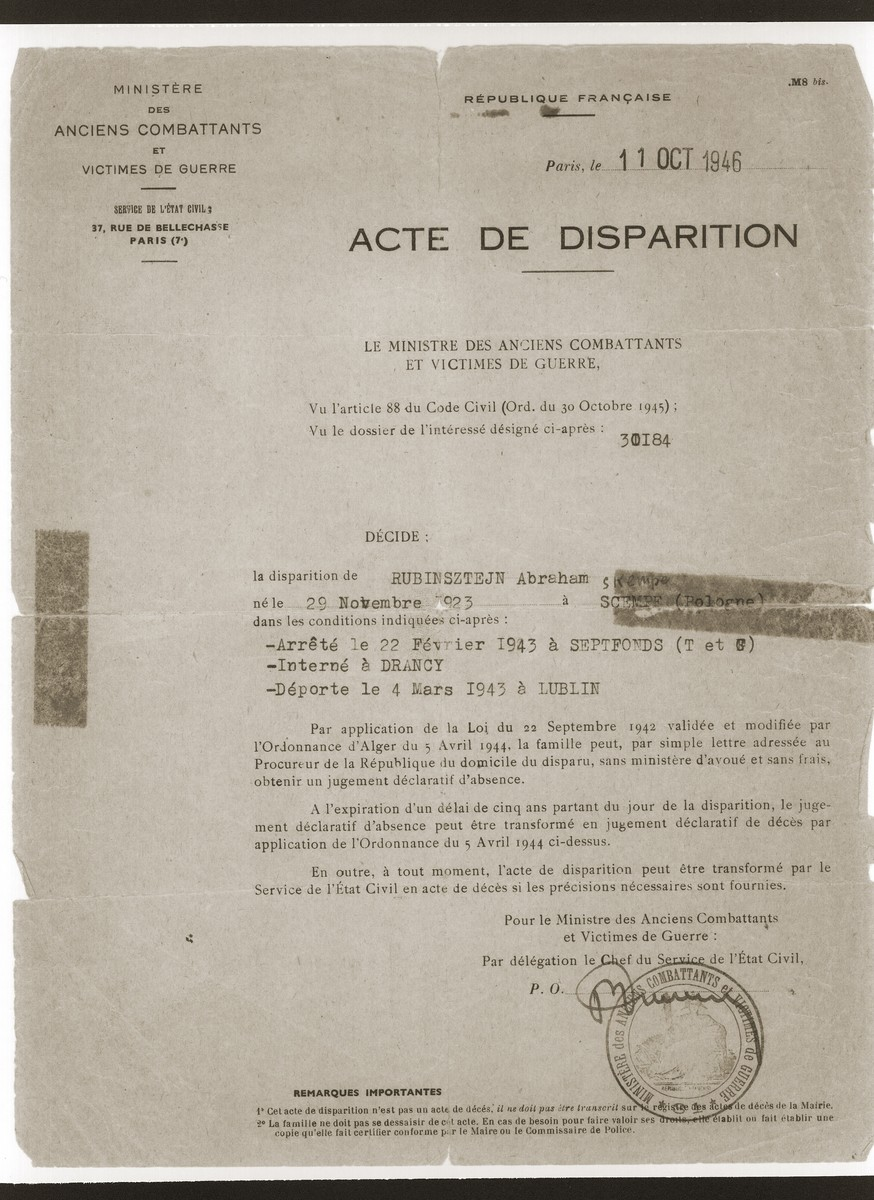 Document dated October 11, 1946, which states that the family of Abraham Rubinsztejn may petition for documentation that he is deceased only after he has been missing for five years.  Abraham was deported to Lublin March 4, 1943.