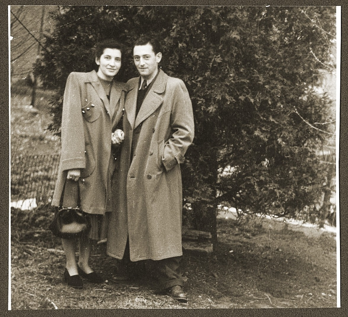 A Jewish DP couple from Poland poses outside in Lancaster, PA, soon after their immigration to the U.S.  Pictured are Fela and Natan Gipsman.