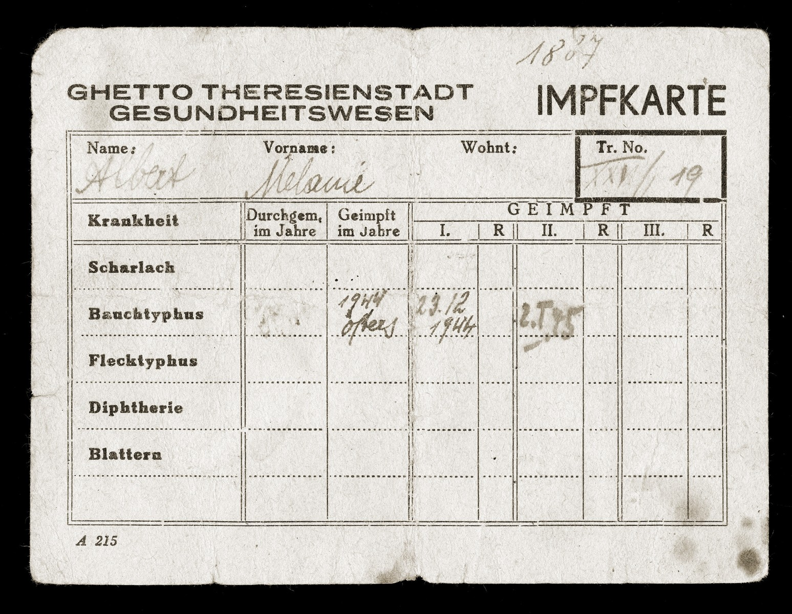 Vaccination card for inmate Melanie Elbert [misspelled Albert] issued by the Ghetto Theresienstadt health office.