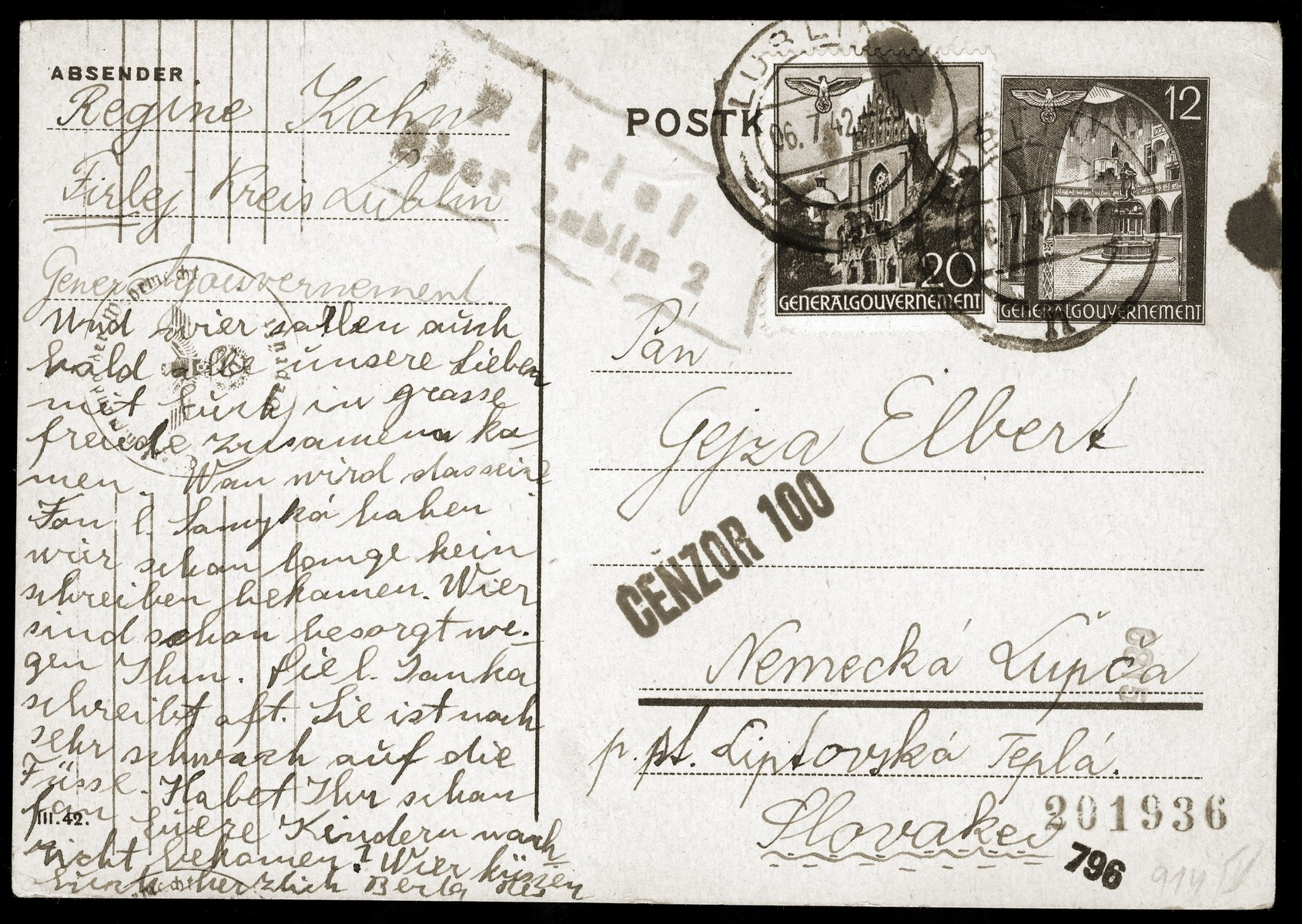 A postcard sent by Regina Kohn from a ghetto or labor camp in Firej, Poland to Gejza Elbert in Nemecka Lupca.