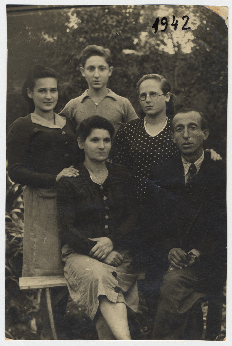 Portrait of a Jewish family in Kazakhstan where they settled after first being imprisoned in Siberia.  Seated are Josef and Bertha Schanzer.  Their son Max is standing behind them in the center flanked by two other women, Cilia and Sala.