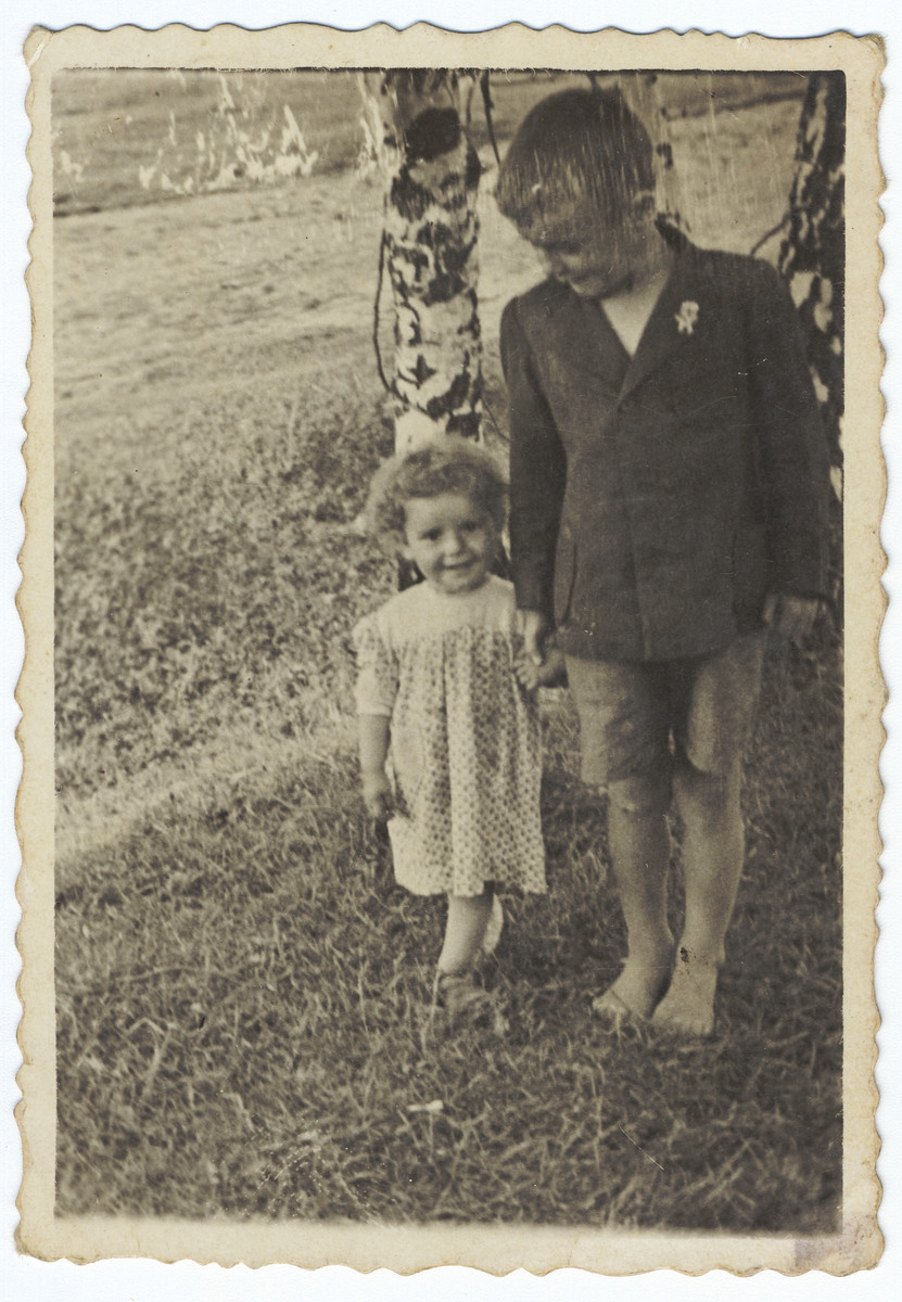 A young Jewish girl in hiding walks in the field next to a an older peasant boy.  Pictured on the left is Krystyna Lindenbaum.
