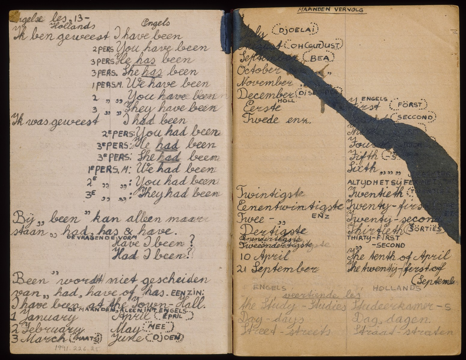 """An open page of a book of English lessons handwritten in Dutch and English by Albert and Max Heppner while they were living in hiding in Deurne-Zeilberg, Holland.    The volume includes two books in one: the first is """"In Grove Trekken, Onze Geschiedenis,"""" written by Max Heppner, and the second, a book of English lessons, written by both Max and Albert."""