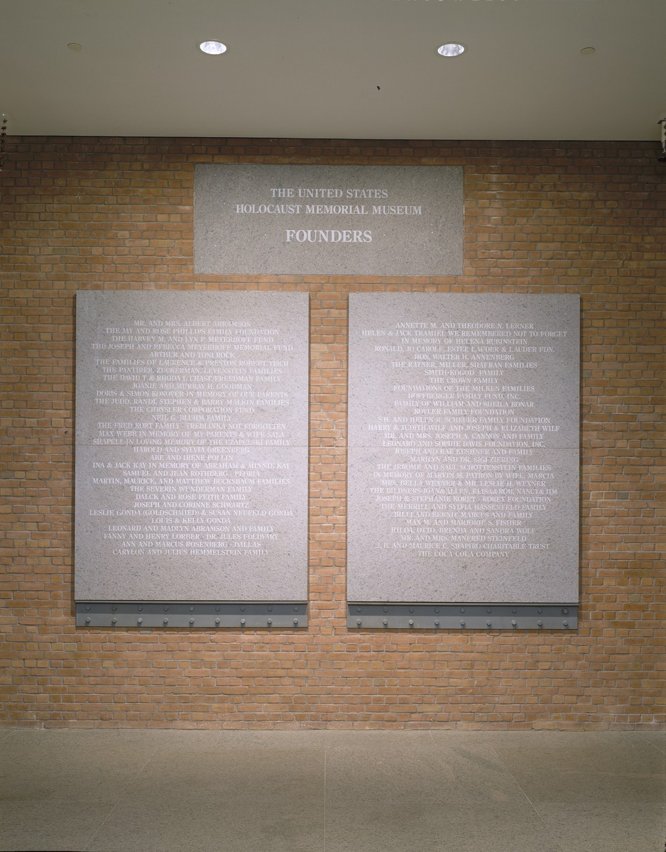 View of the Founder's Wall, located on the first floor of the United States Holocaust Memorial Museum.
