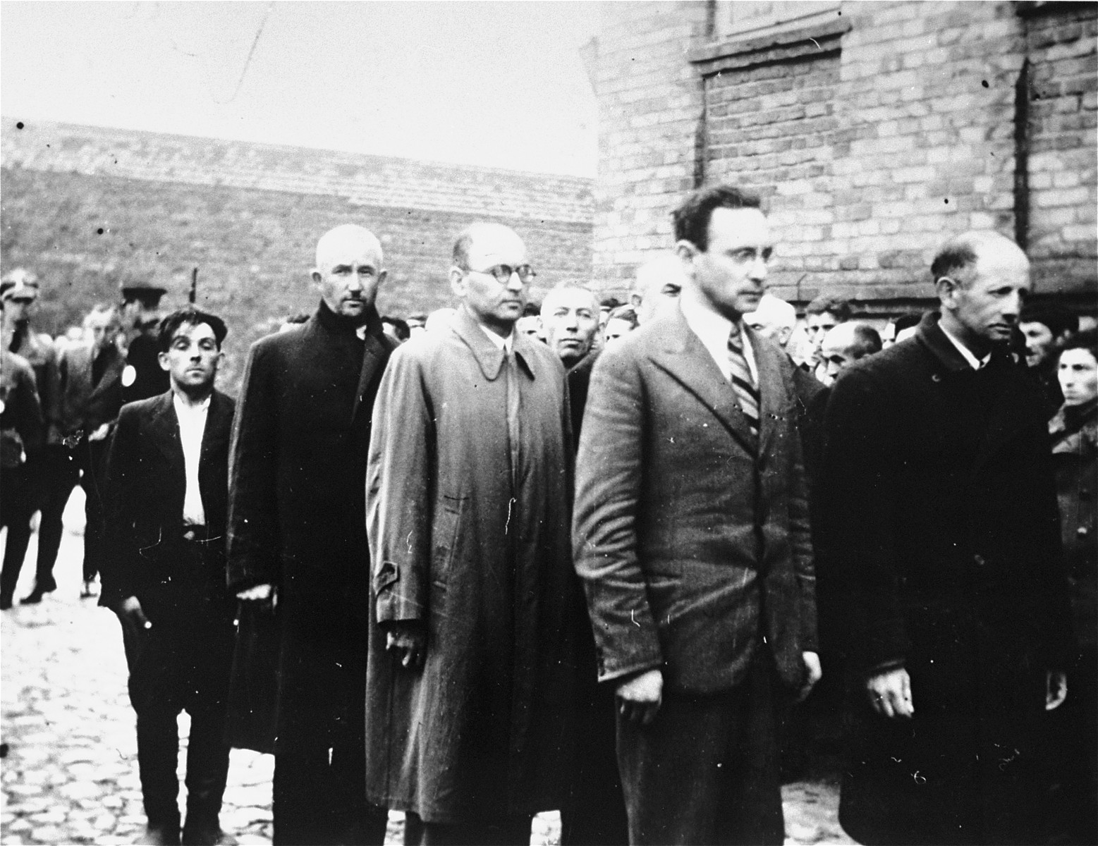 Jewish men are lined-up in a courtyard during an action in Plonsk.