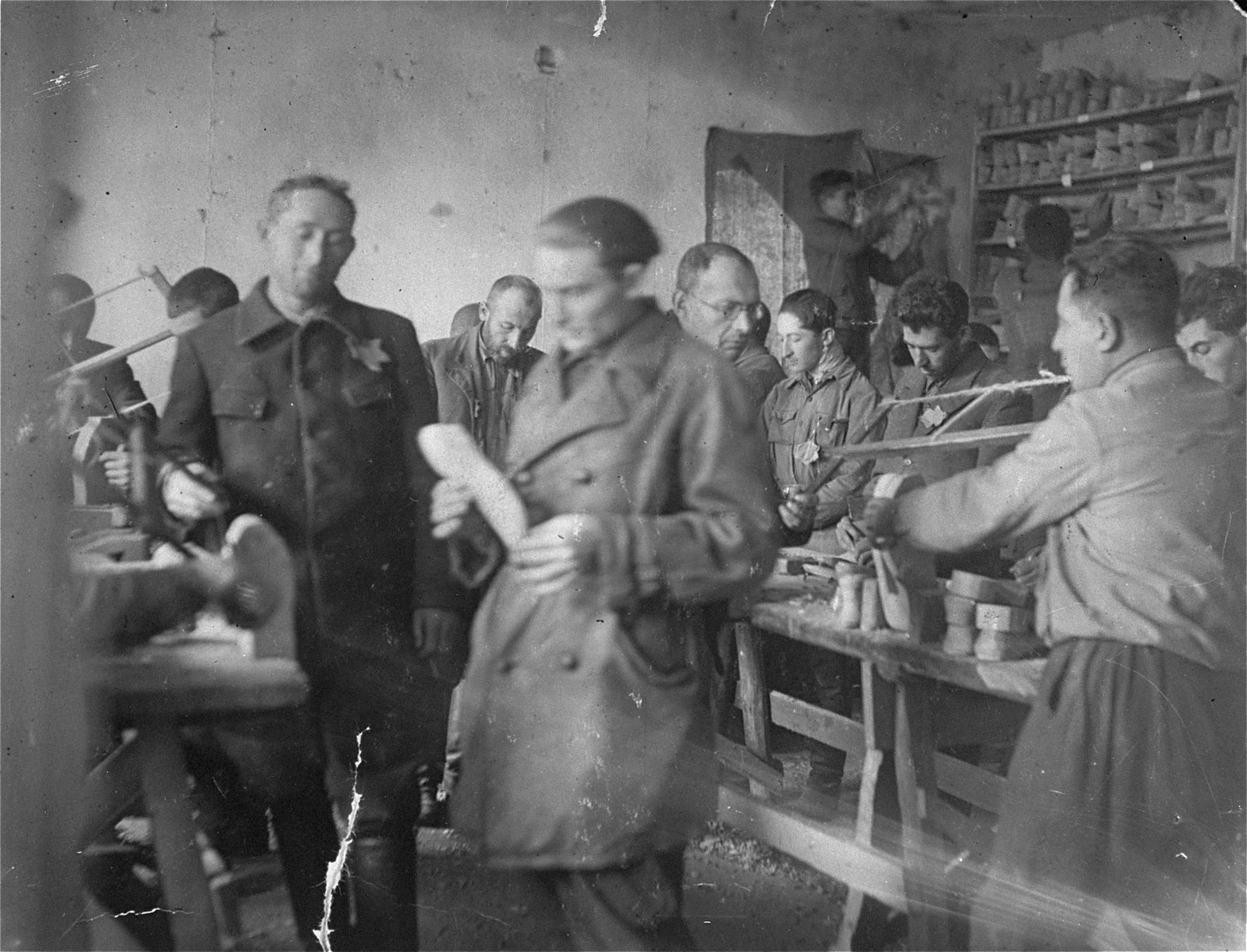 Jews at work in a shoe factory in the Szarkowszczyzna ghetto.