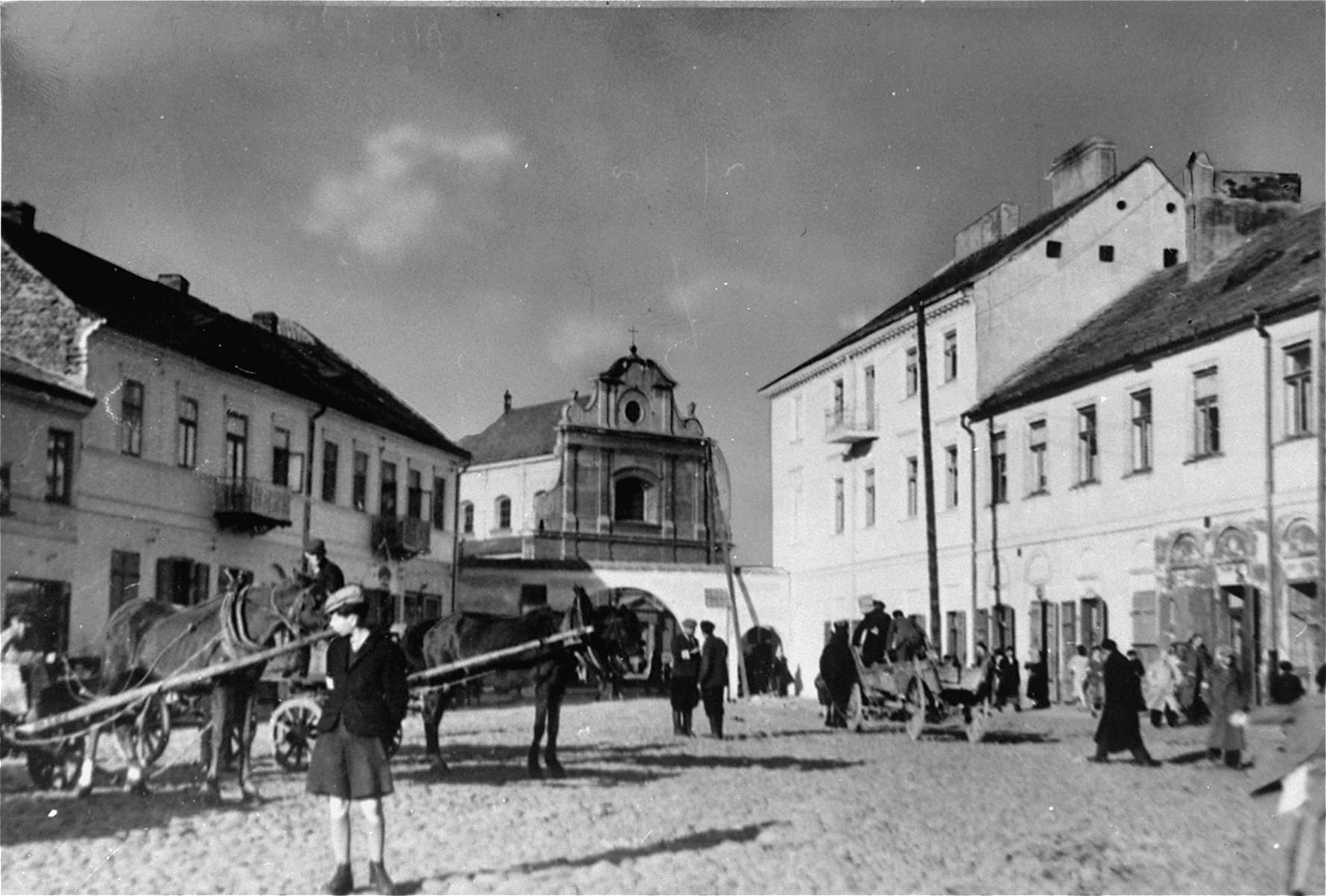 View of the main square of the ghetto in Radom.