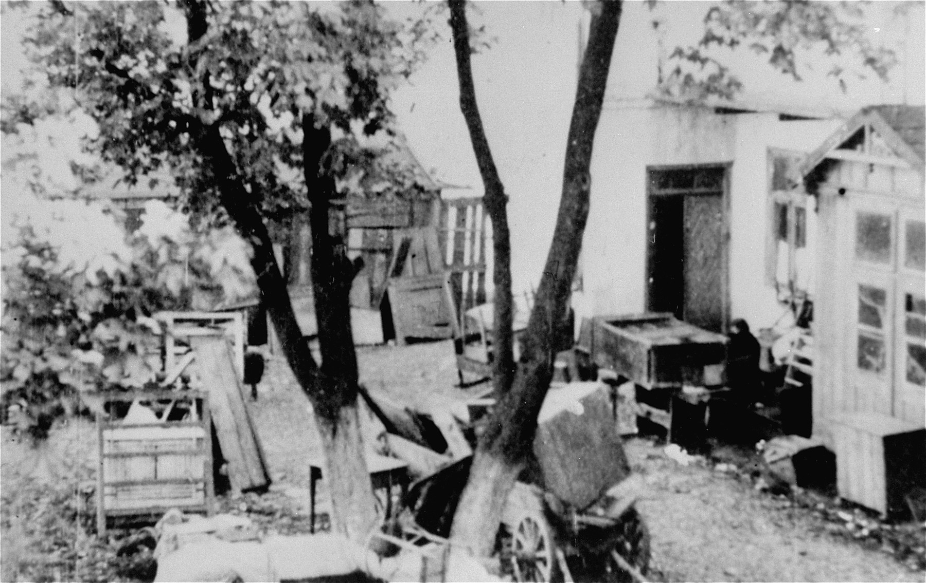 View of the abandoned furnishings of Jews who have been deported from the ghetto.