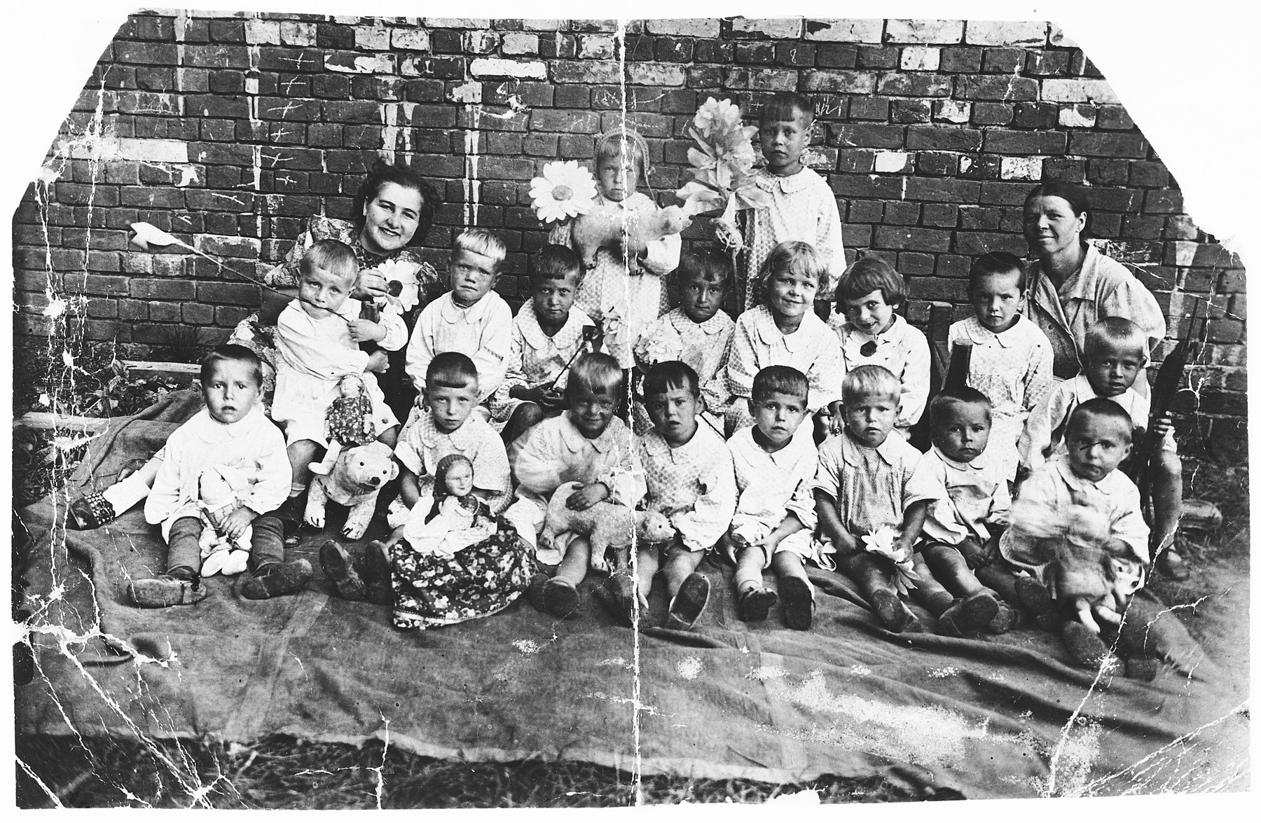 Children in a  kindergarten outside of Moscow where the Rendler family had fled at the start of World War II.