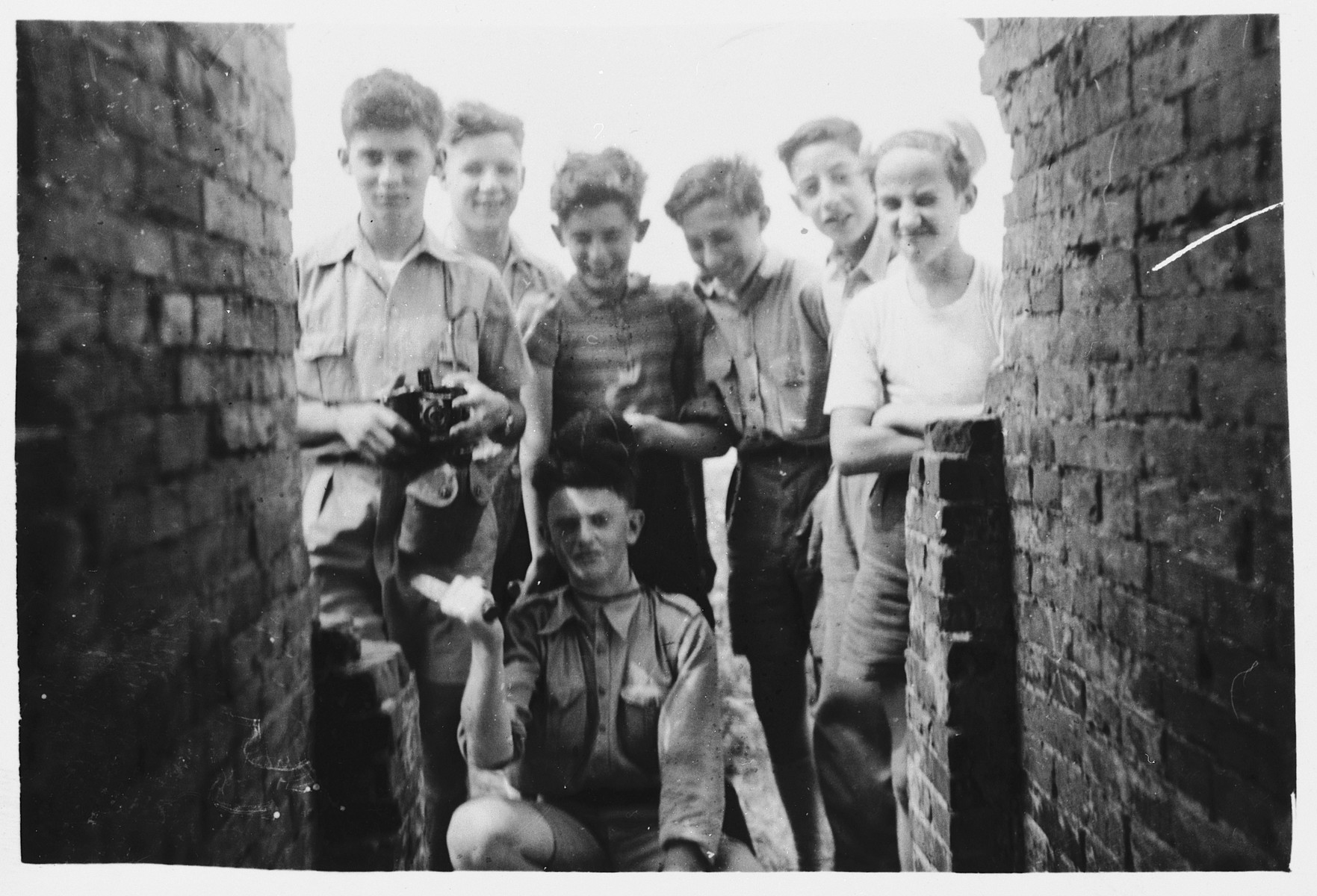 Jewish boys from the Zionist group Brit Trumpeldor pose during an excursion.