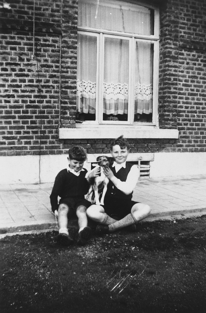A Jewish child who is living in hiding poses with the son of his rescuers in front of their home in Dinant, Belgium.   Pictured are Henri Donner (left) and Maurice Alardo (right) playing with a dog.