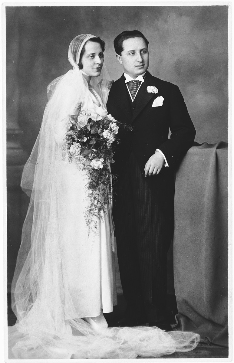 Studio wedding portrait of a Grete and Paul Kovacs (the aunt and uncle of the donor).