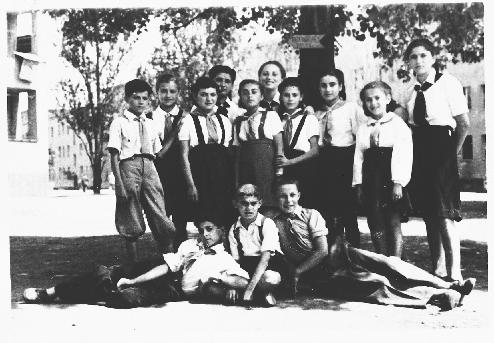 Members of Hashomer Hatzair Zionist youth movement in the Tempelhof DP camp in Berlin.  Pictured standing, second from the right is Chuma Rendler (now Natalie Gonenn).